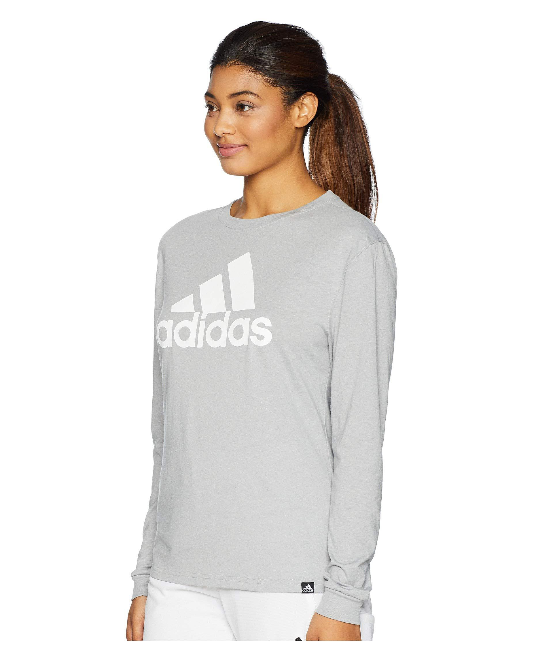 2d222a23c58d adidas Badge Of Sport Long Sleeve T-shirt (medium Grey Heather ...