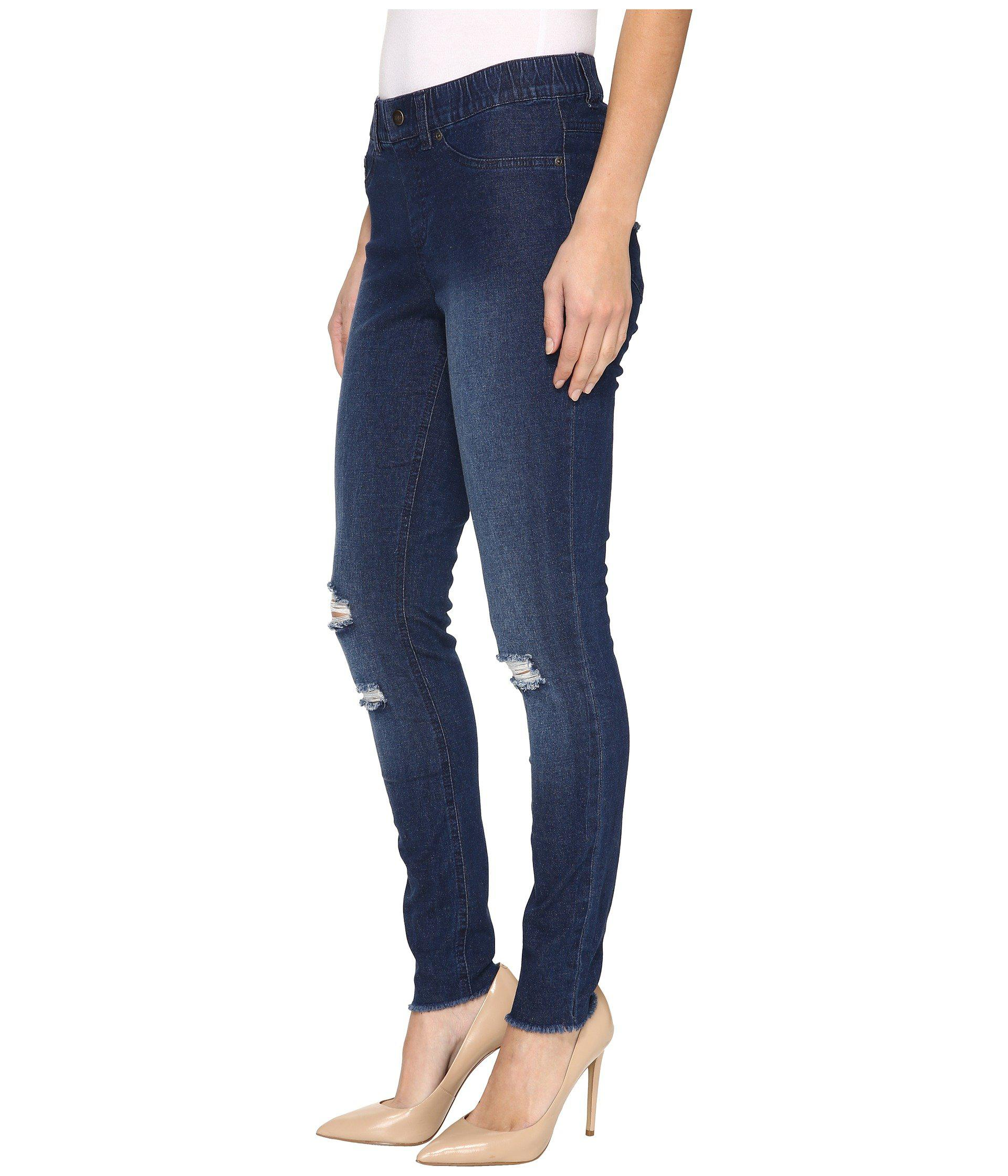 a6b41a531b9c3e Lyst - Hue Ripped Curvy Fit Denim Leggings in Blue - Save 27%