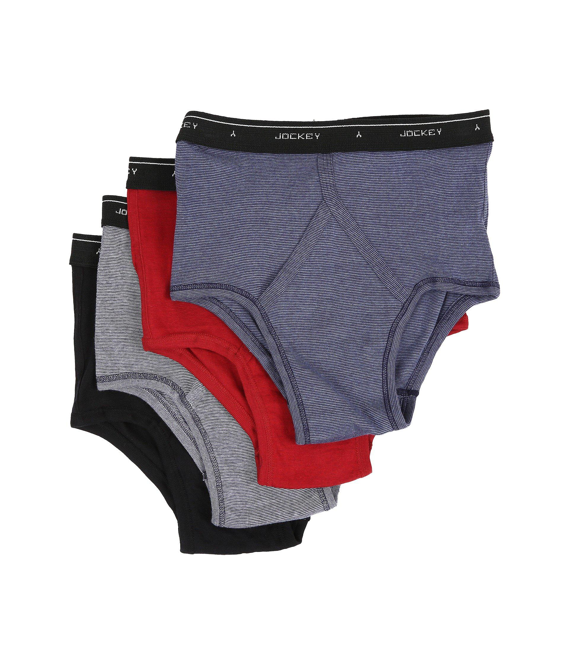 64ecf53107 Lyst - Jockey Cotton Full-rise Brief 4-pack (blue Stripe red black ...