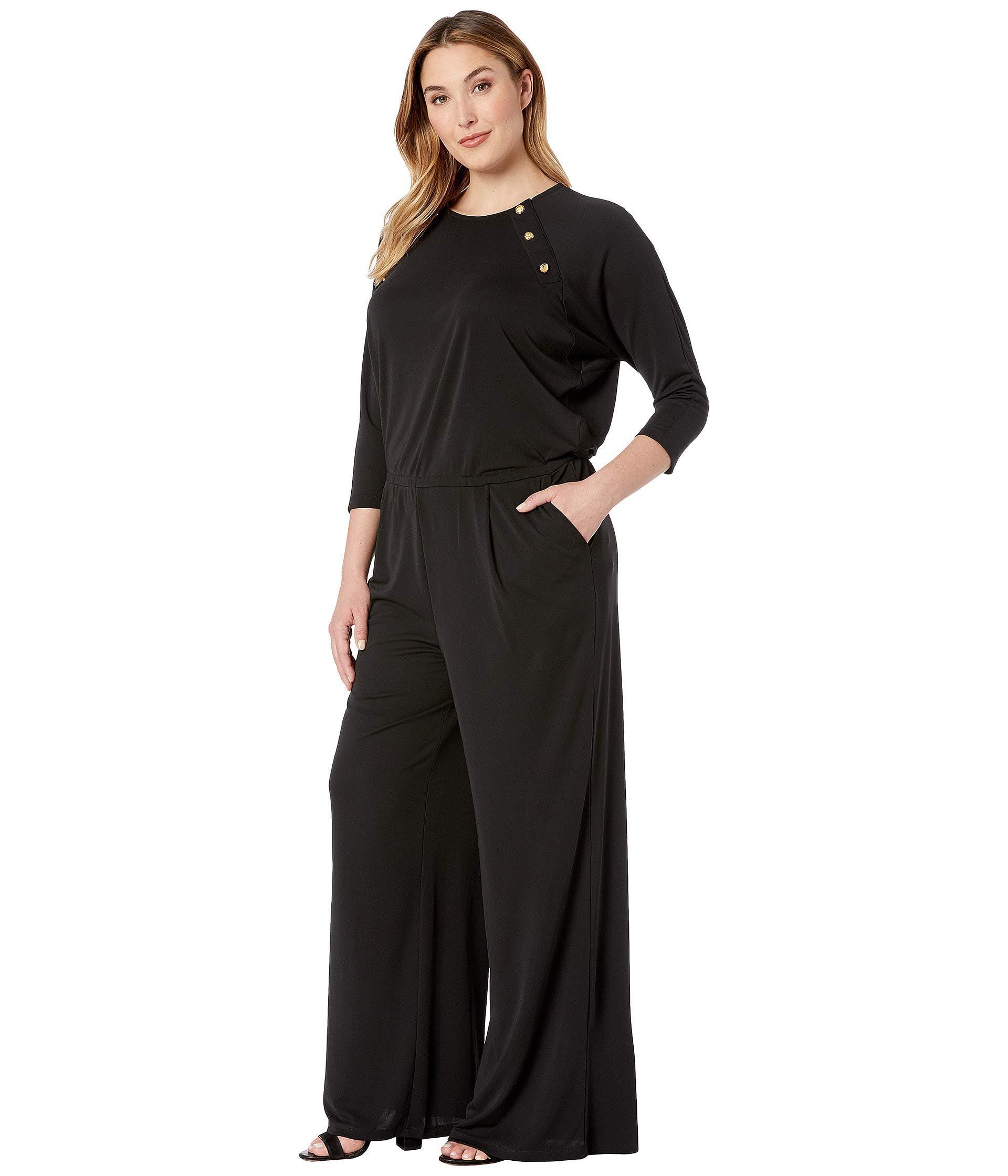 698ec56307ac Lyst - Lauren by Ralph Lauren Plus Size Rivet-trim Jersey Jumpsuit (polo  Black) Women s Jumpsuit   Rompers One Piece in Black