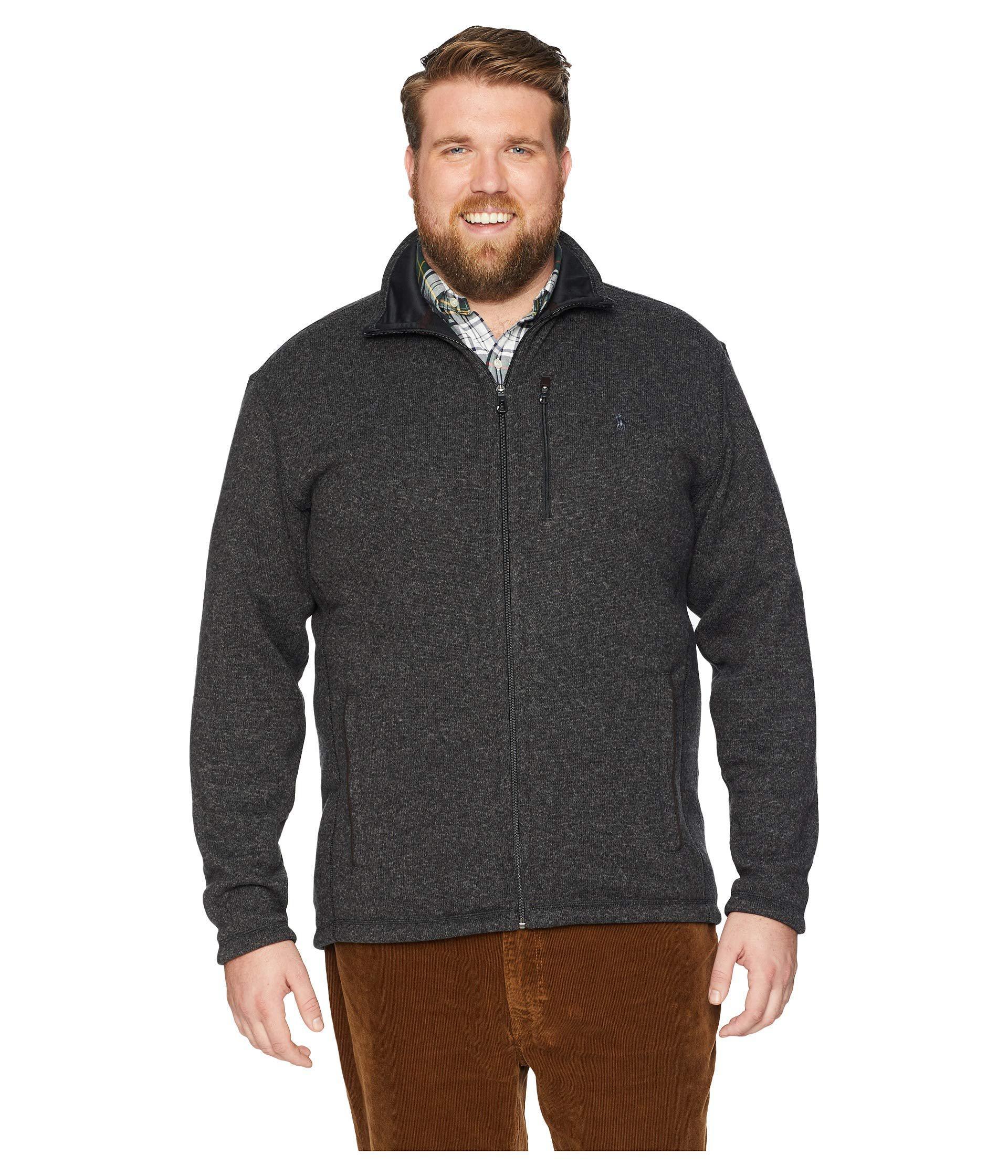 c61fbe8baae Polo Ralph Lauren - Big Tall Sweater Fleece Jacket (black Marl Heather)  Men s Coat. View fullscreen