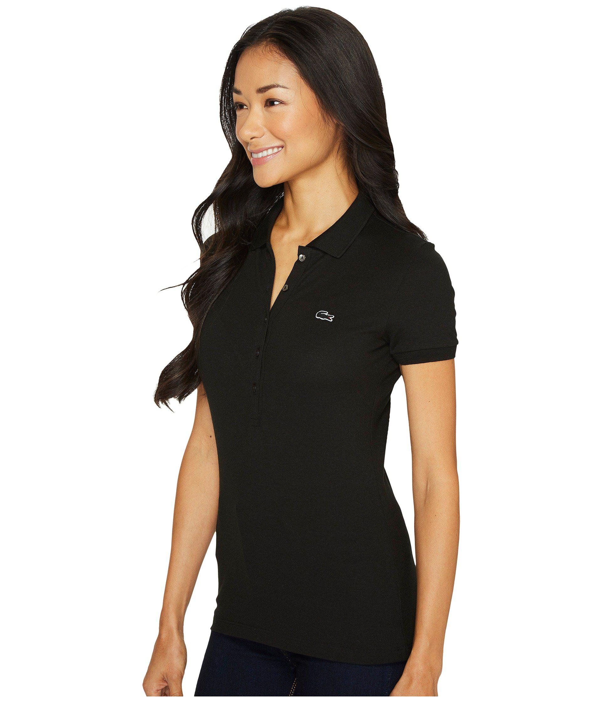 Lyst - Lacoste Short Sleeve Slim Fit Stretch Pique Polo Shirt (black)  Women s Clothing in Black e80236055d