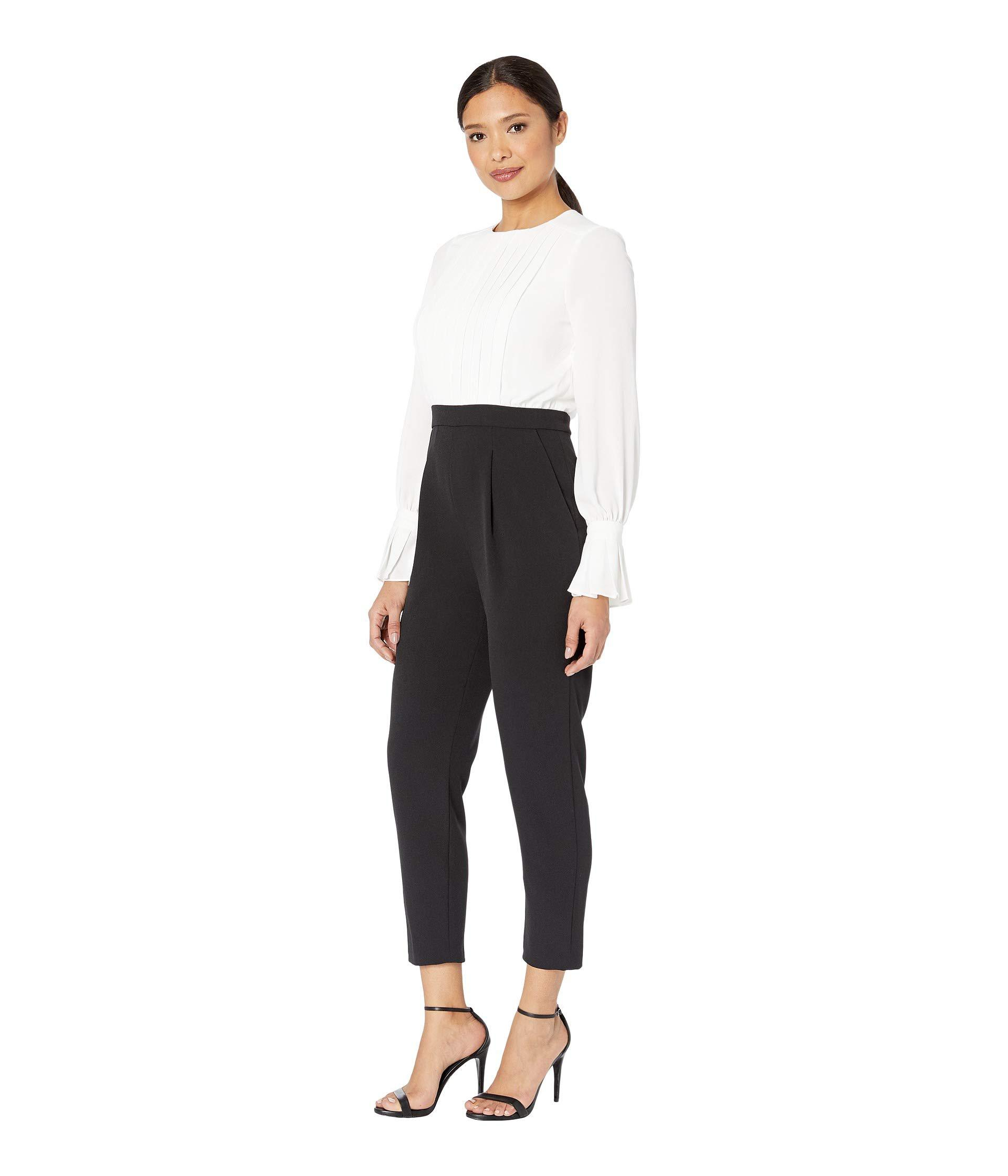 4e145d4644f Lyst - Maggy London Tucked Front Crepe Jumpsuit (ivory black) Women s  Jumpsuit   Rompers One Piece in Black