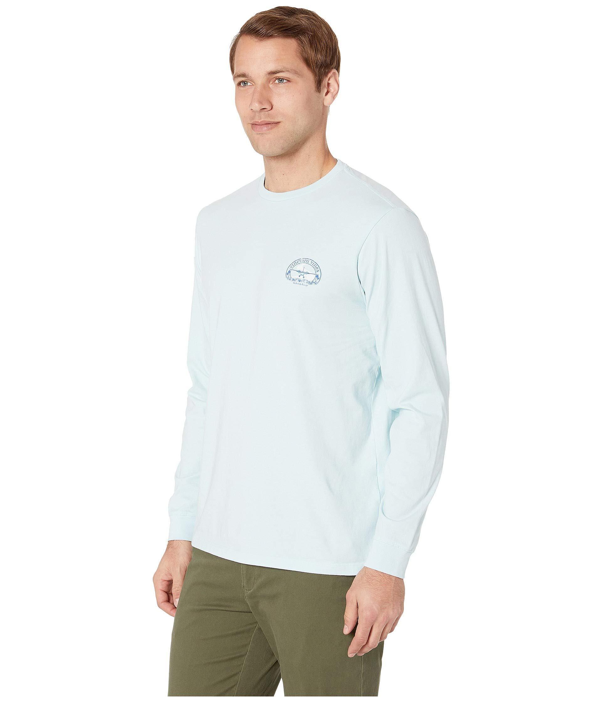 c2dca38c8 Lyst - Vineyard Vines Long Sleeve No Runway Tee (misty Blue) Men's T Shirt  in Blue for Men