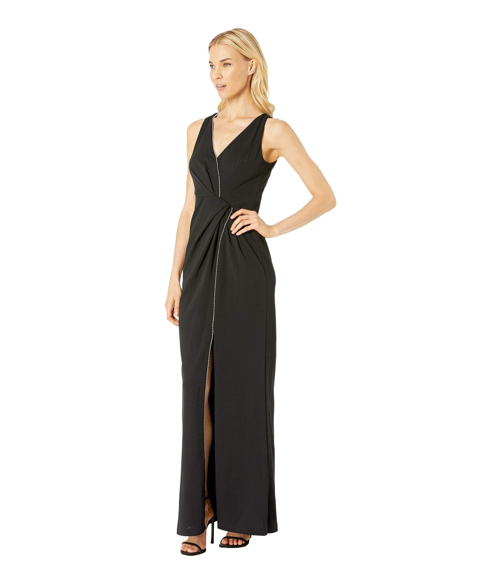 6539ca2d293 Lyst - Adrianna Papell Halter Long Dress (black) Women s Dress in Black -  Save 37%