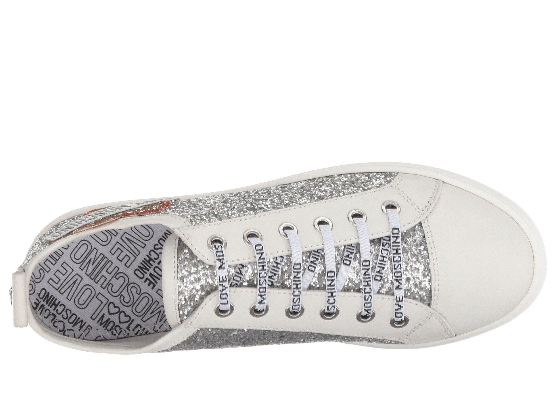 3bfe9dab6104 Lyst - Love Moschino Glitter Platform Sneaker (silver) Women s Lace ...