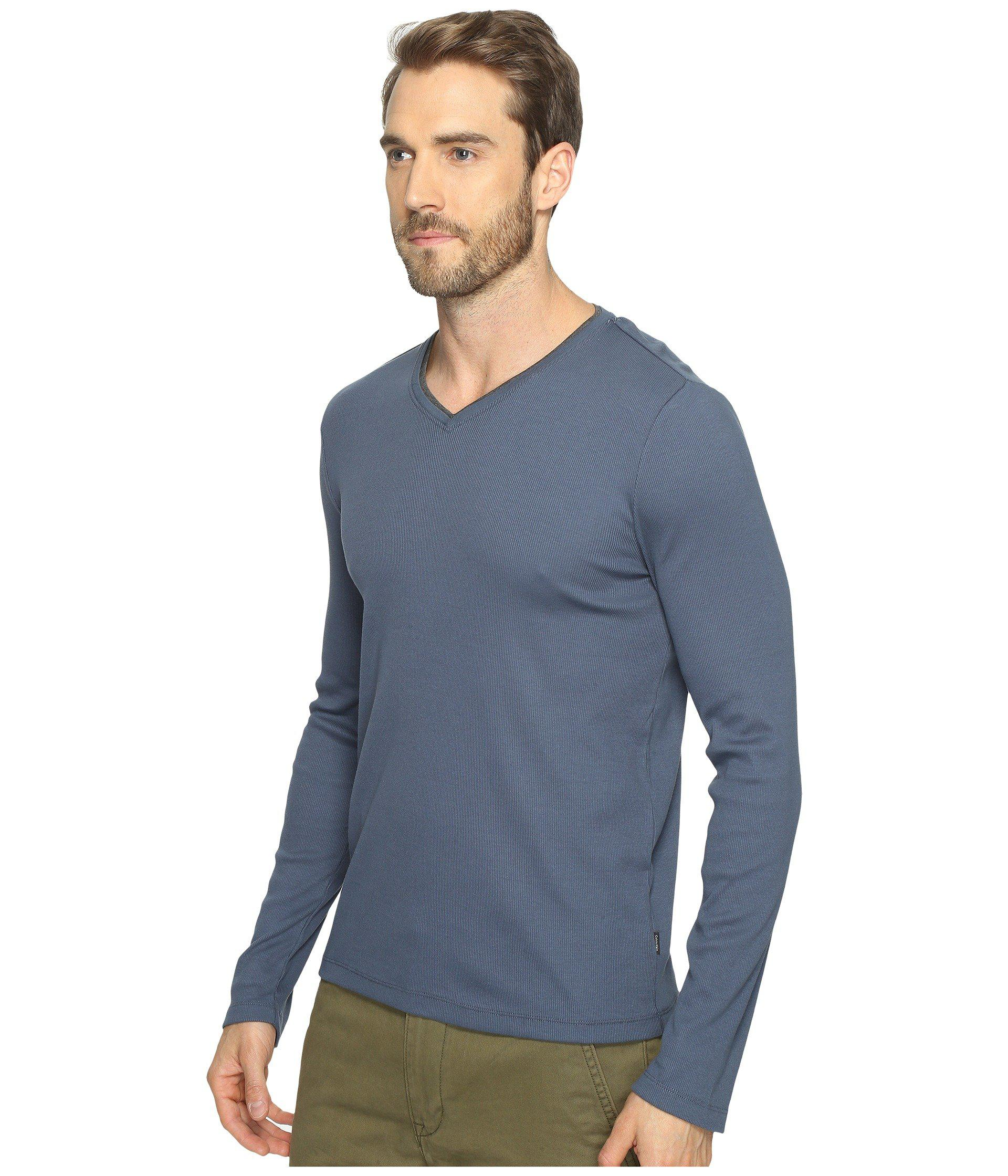 e833a0396a7 Lyst - Calvin Klein Long Sleeve Rib V-neck T-shirt (black) Men s ...