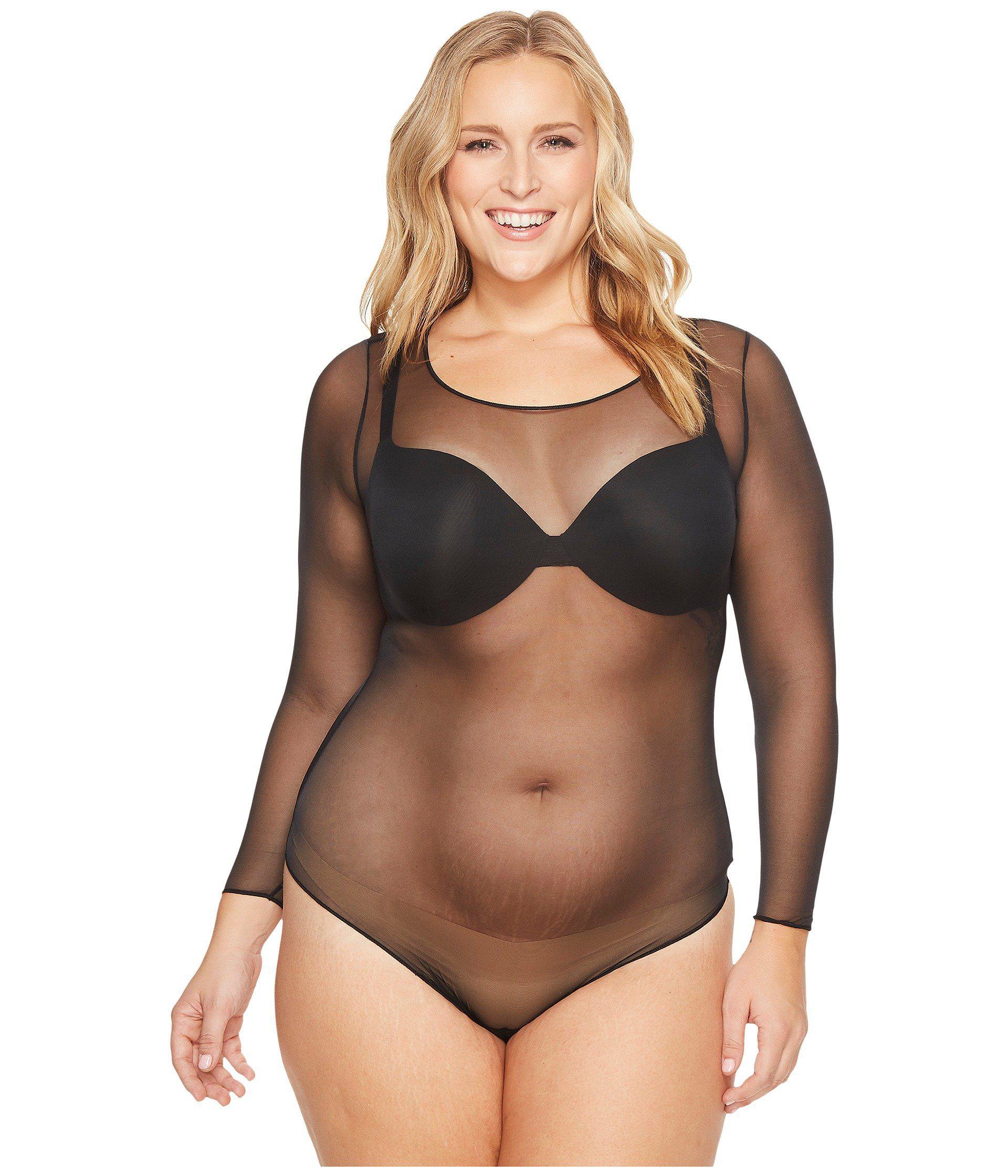 0e931fa7fd Lyst - Spanx Plus Size Sheer Fashion Mesh Thong Bodysuit (very Black ...