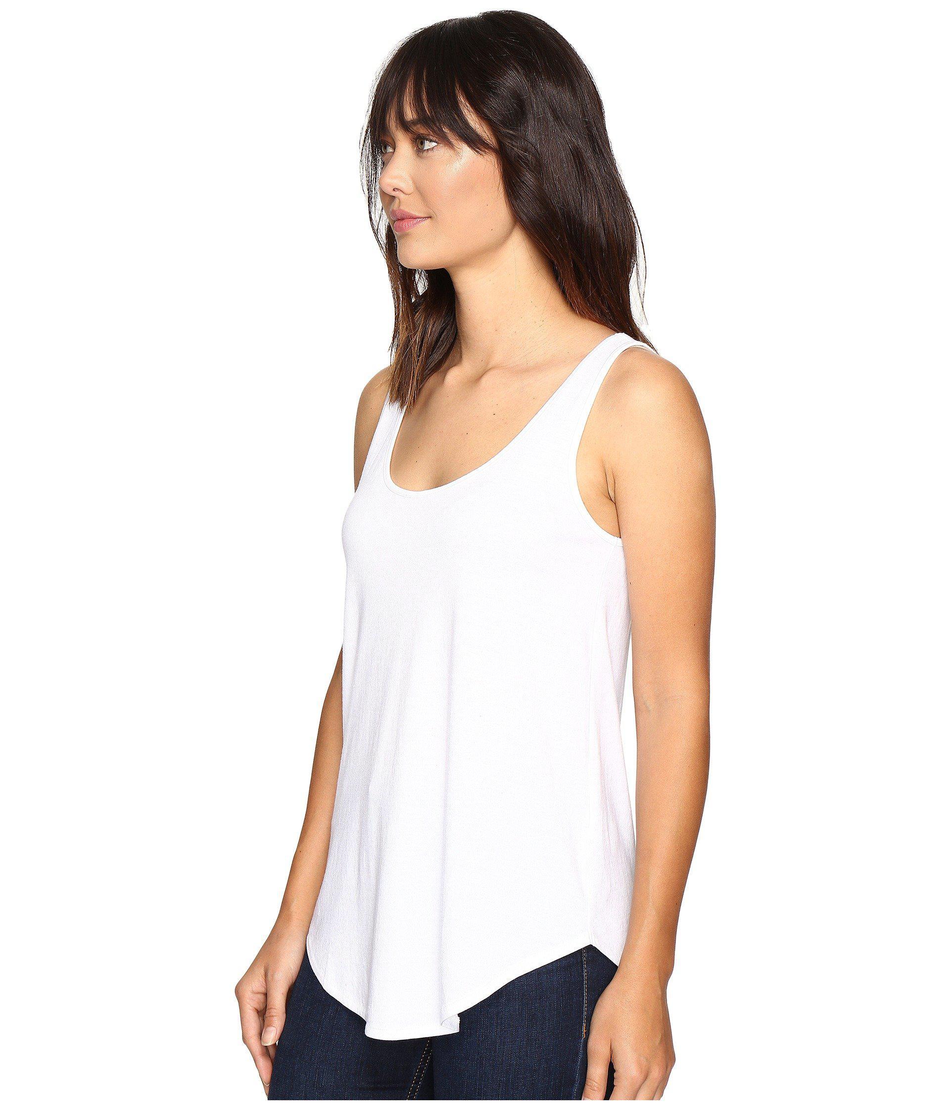 0025c22210887c Lyst - Lilla P Pima Modal Shirttail Scoop (black) Women s Clothing in White