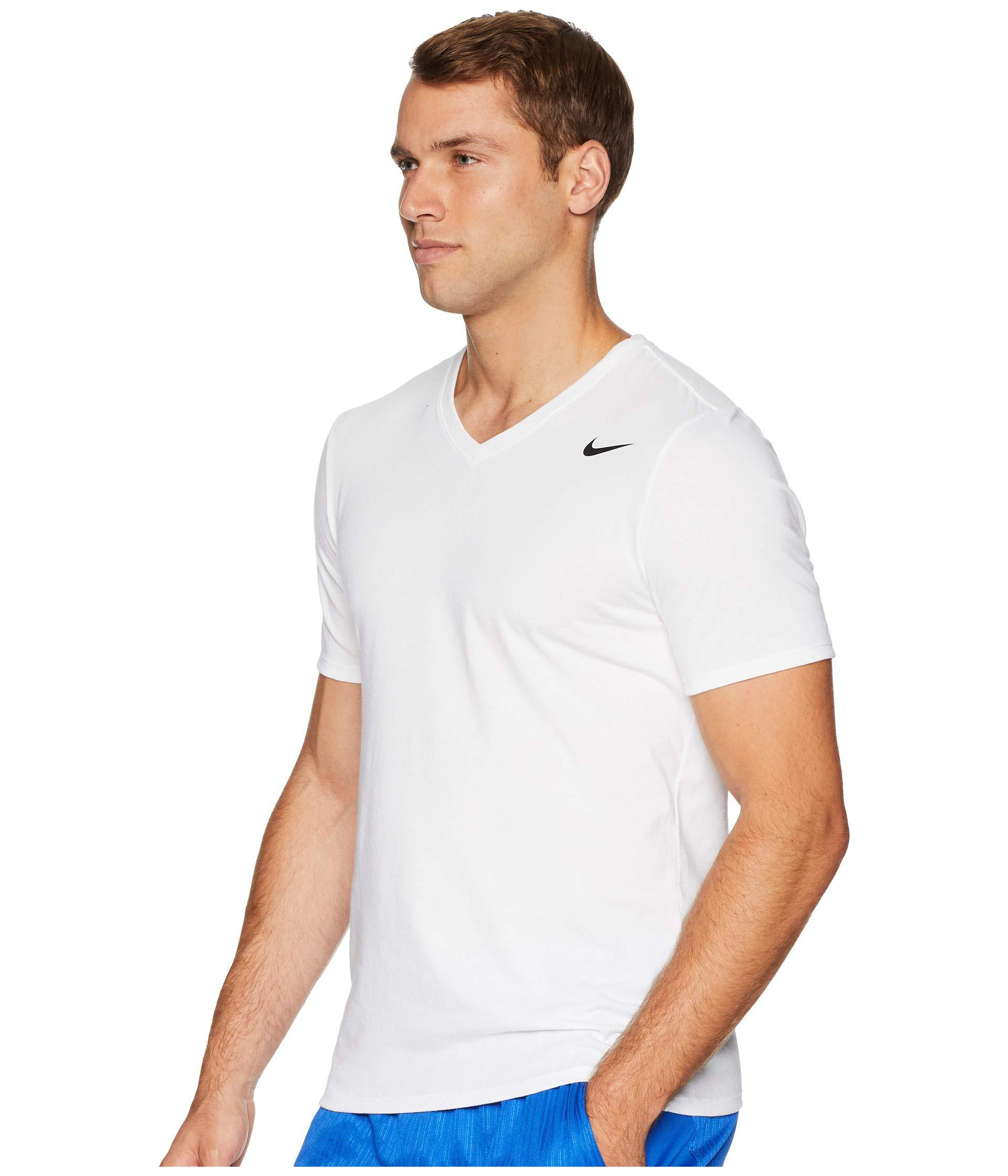 8bd49e64eb94 Lyst - Nike Dry Training V-neck T-shirt (white) Men s T Shirt in White for  Men