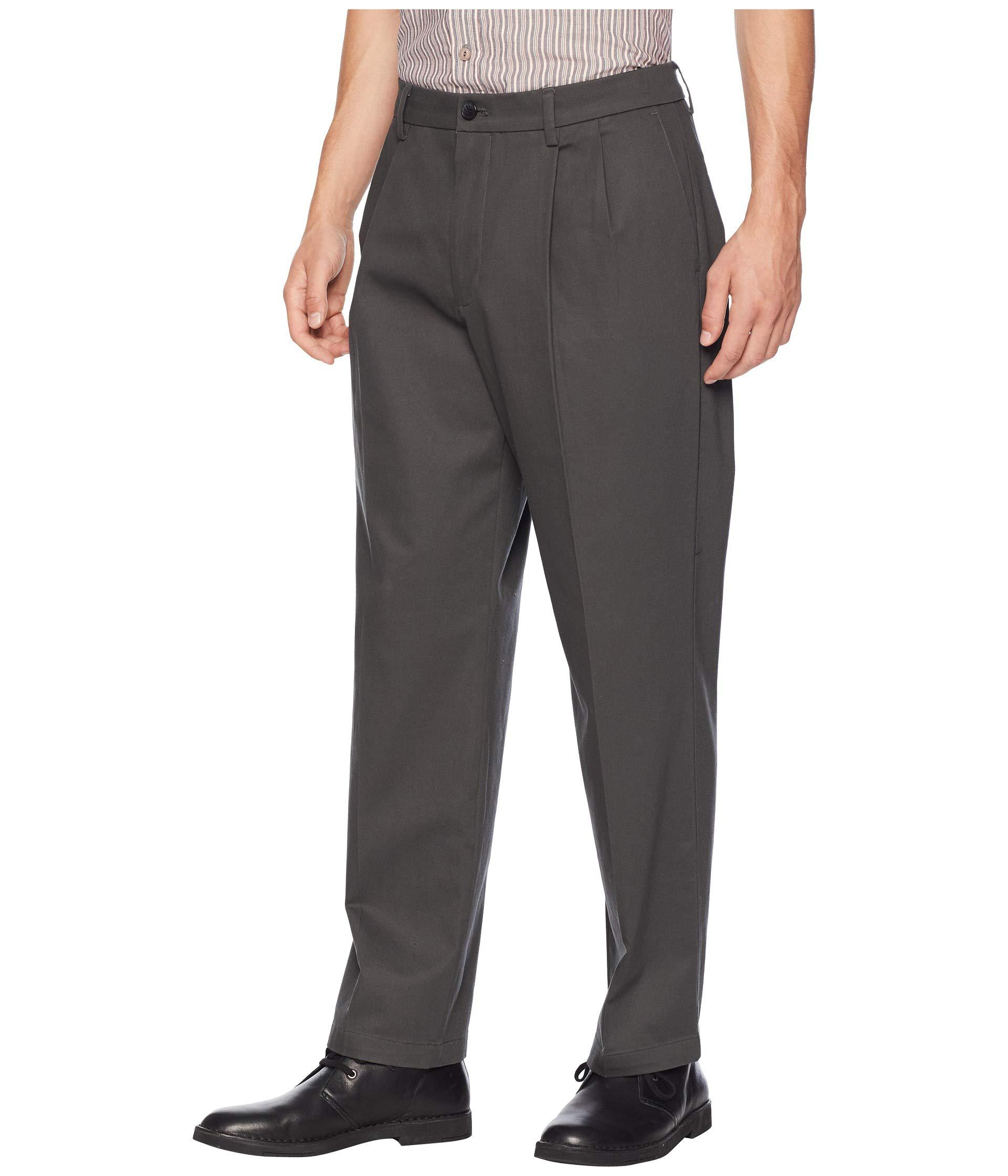 b7321bb5ebfa1 Lyst - Dockers Relaxed Fit Signature Khaki Lux Cotton Stretch Pants D4 -  Pleated ( Navy) Men s Casual Pants in Black for Men