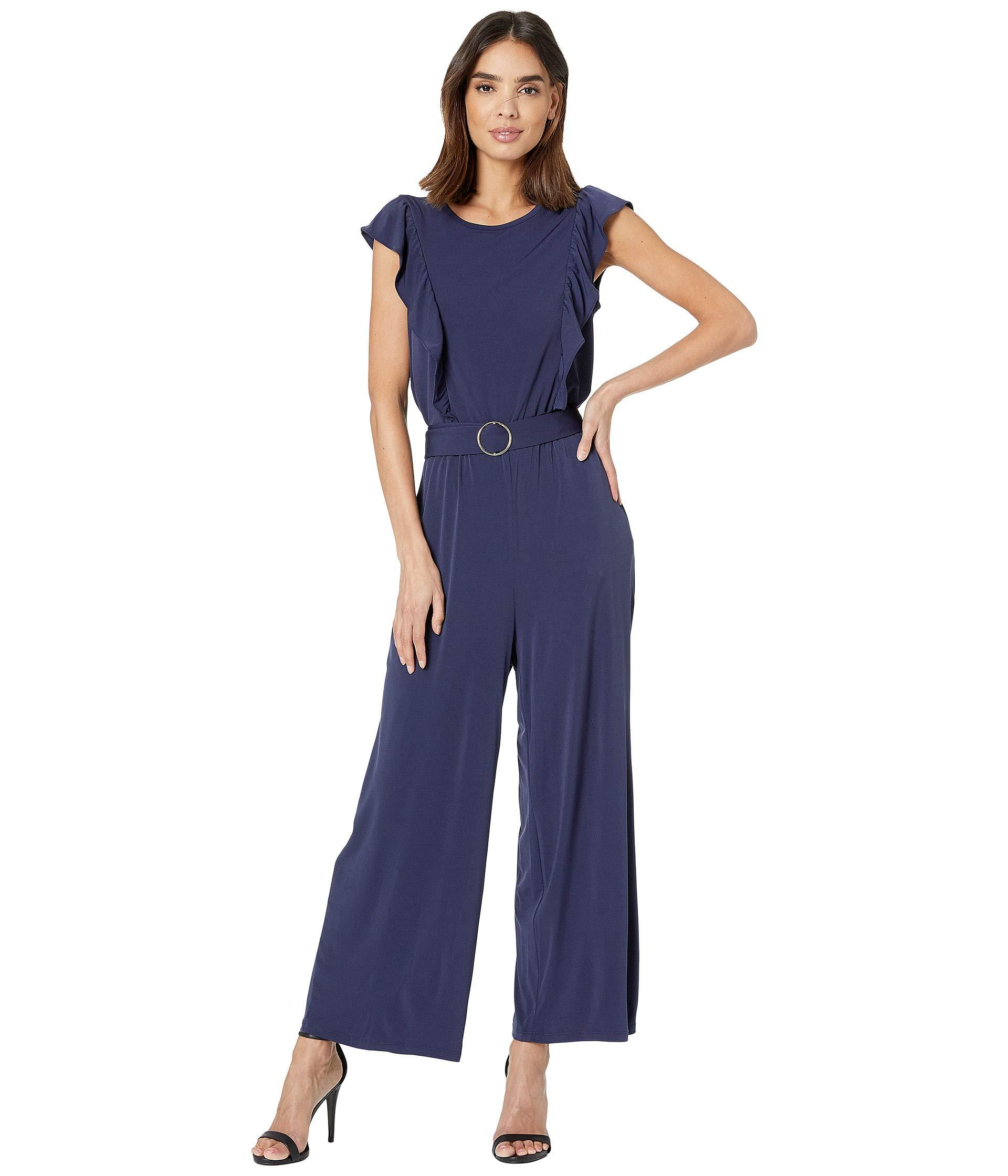 861604302fce Lyst - MICHAEL Michael Kors Solid Ring Belt Jumpsuit (true Navy ...
