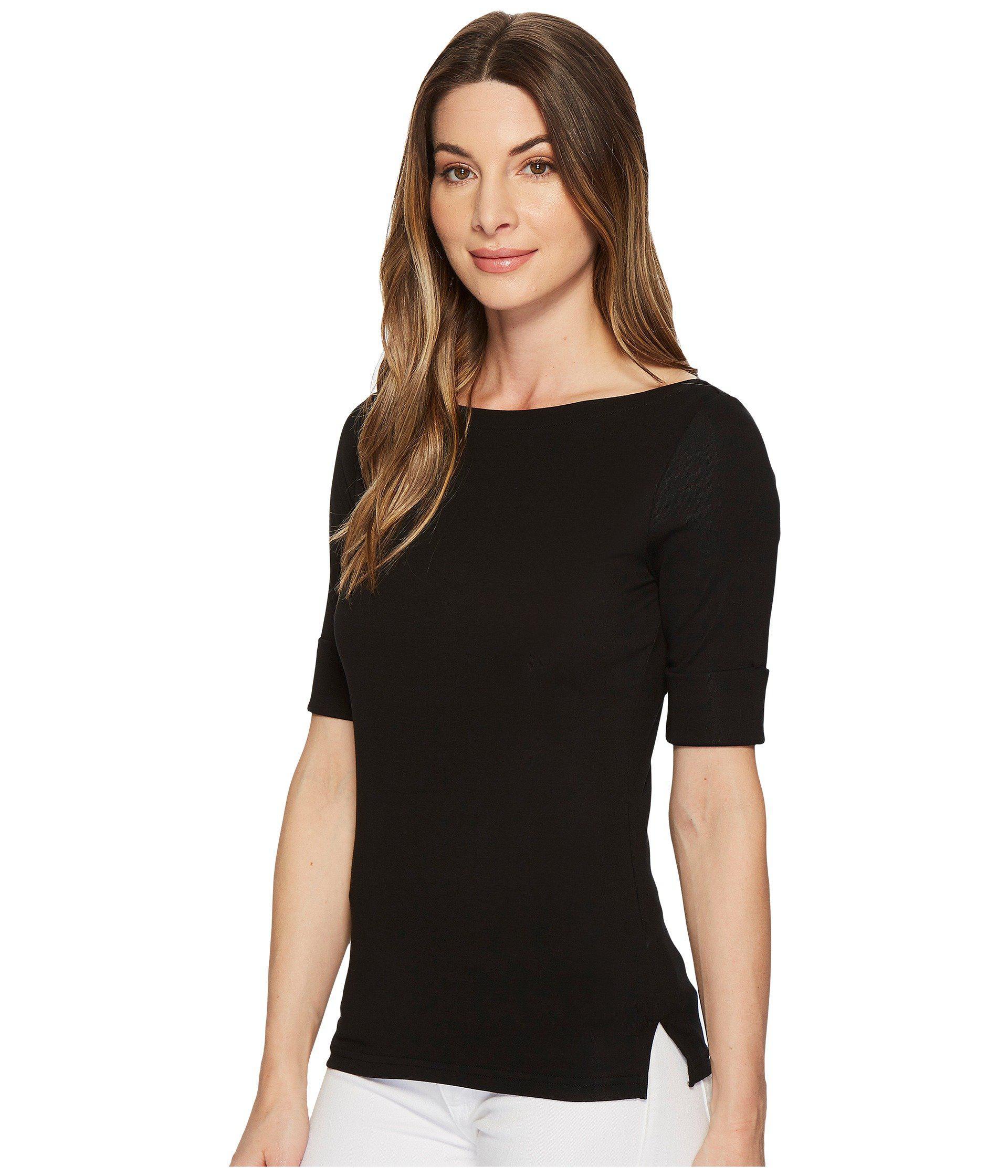 4a0398ff64d Lyst - Lauren by Ralph Lauren Stretch Cotton Boat Neck Tee (white) Women s  T Shirt in Black