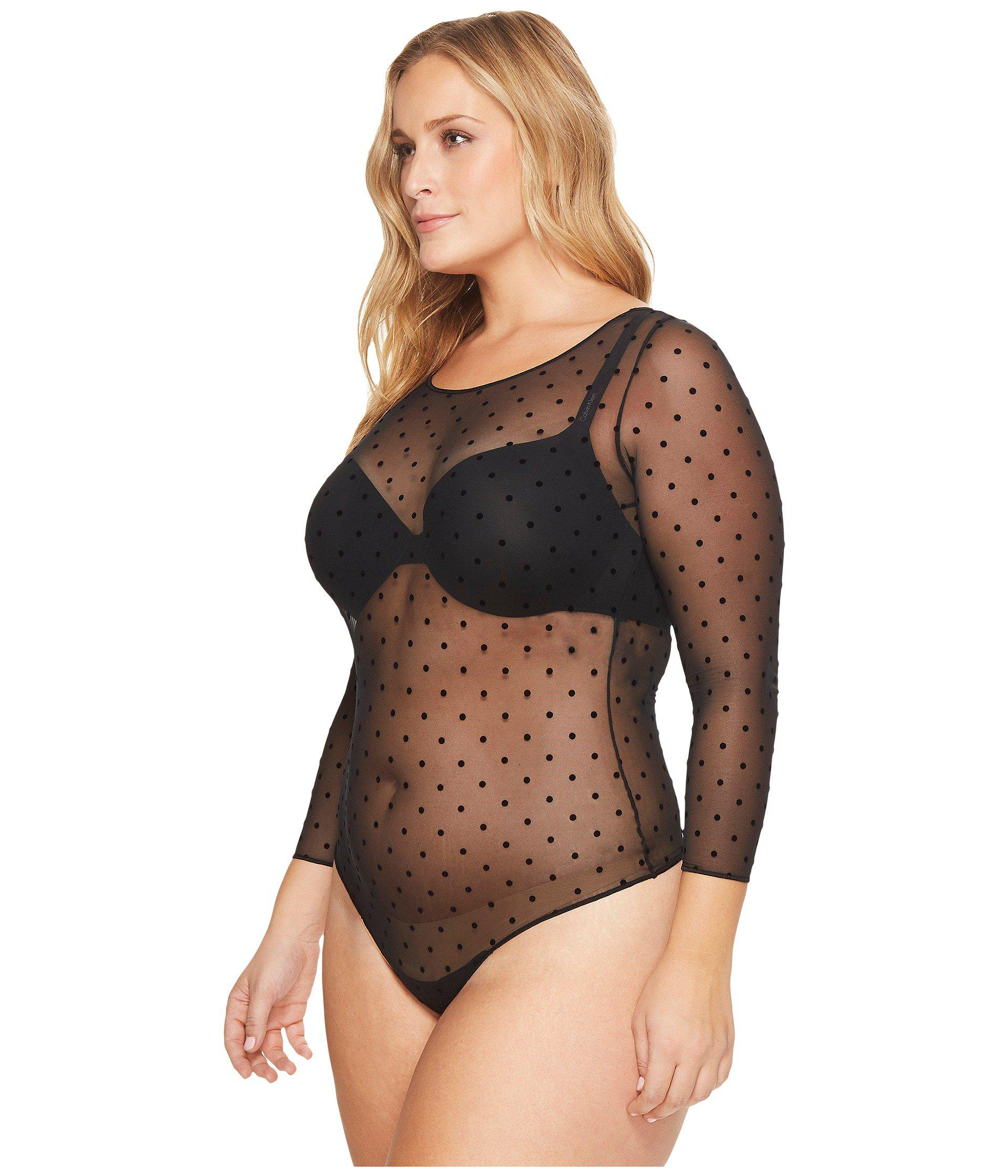 e3b7770e05 Spanx Plus Size Sheer Fashion Mesh Thong Bodysuit (very Black ...