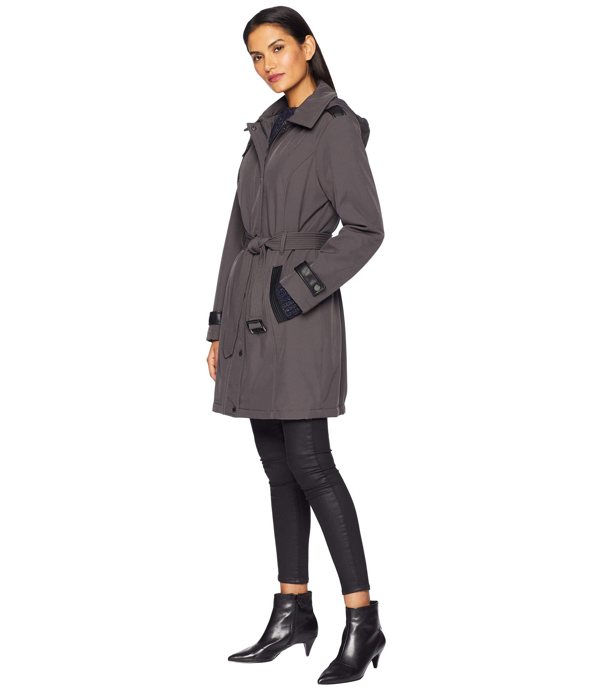 cbc01b2a58d9 Lyst - MICHAEL Michael Kors Snap Front Belted Softshell Coat M523004gz  (charcoal) Women s Coat in Gray