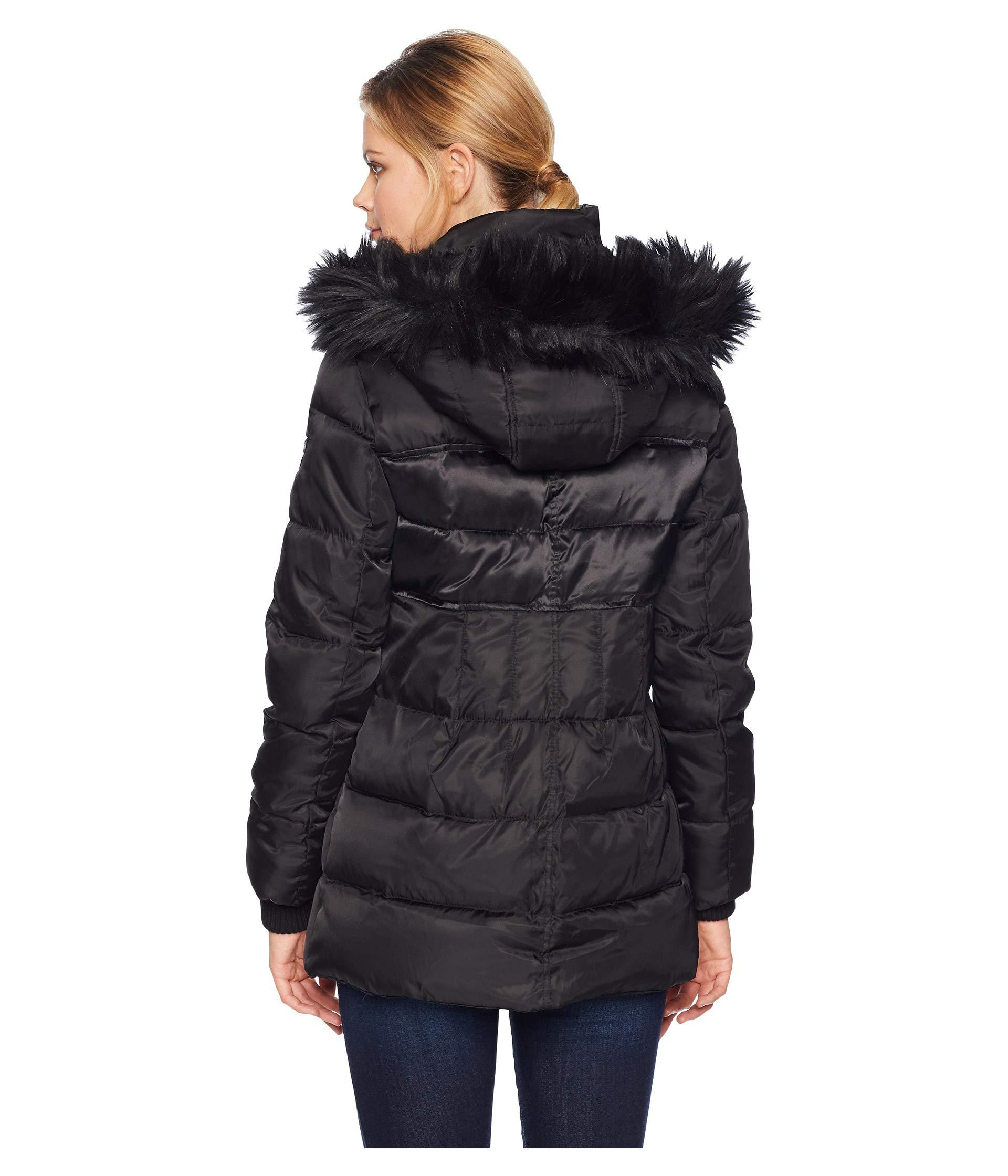 31c2ff7a7796ea Vince Camuto - Black Short Down Jacket With Storm Cuff And Faux Fur R1331  (tricolor. View fullscreen