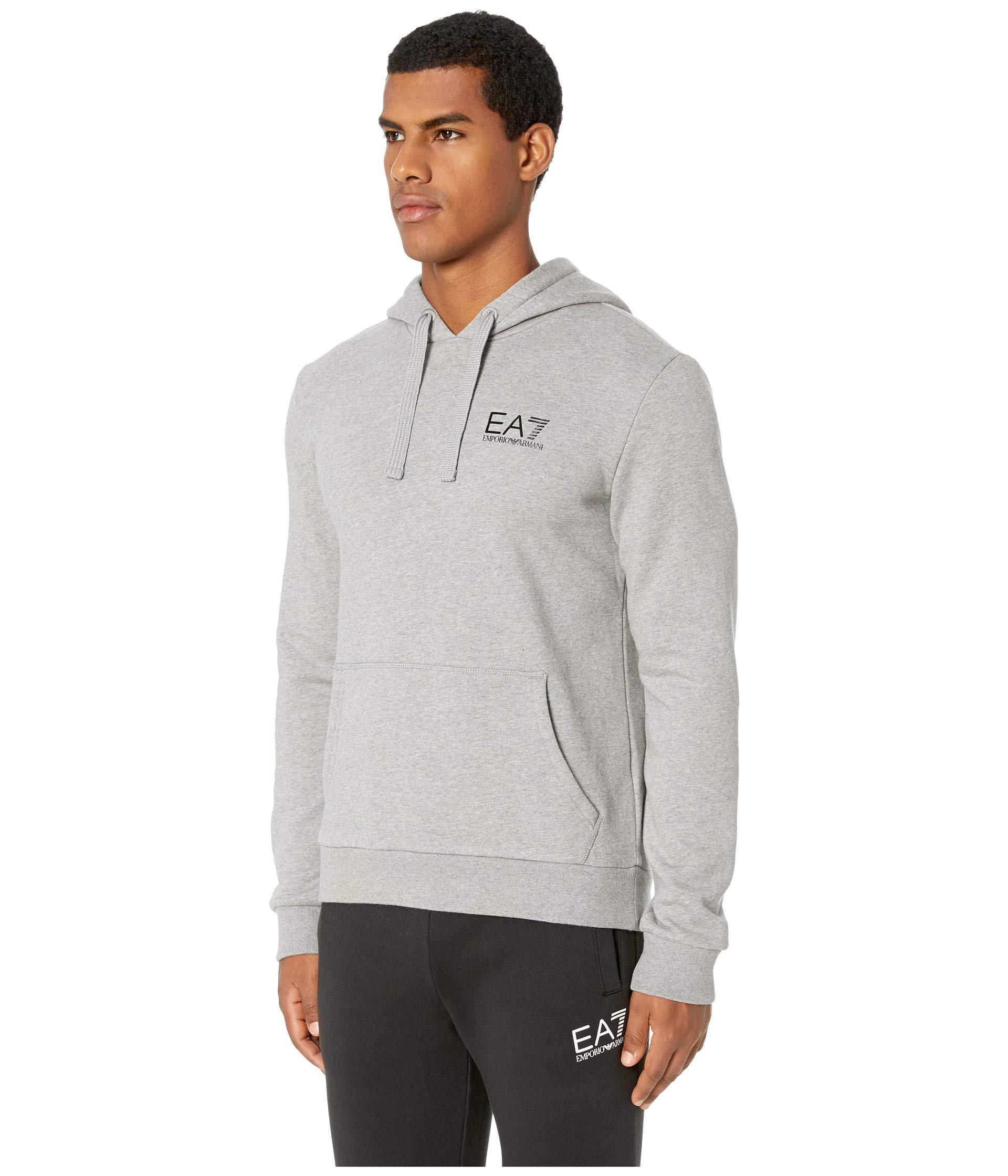 3f80234d10b Lyst - Emporio Armani Ea7 - Training Pullover Fleece Hoodie (medium Grey  Melange) Men s Sweatshirt in Gray for Men