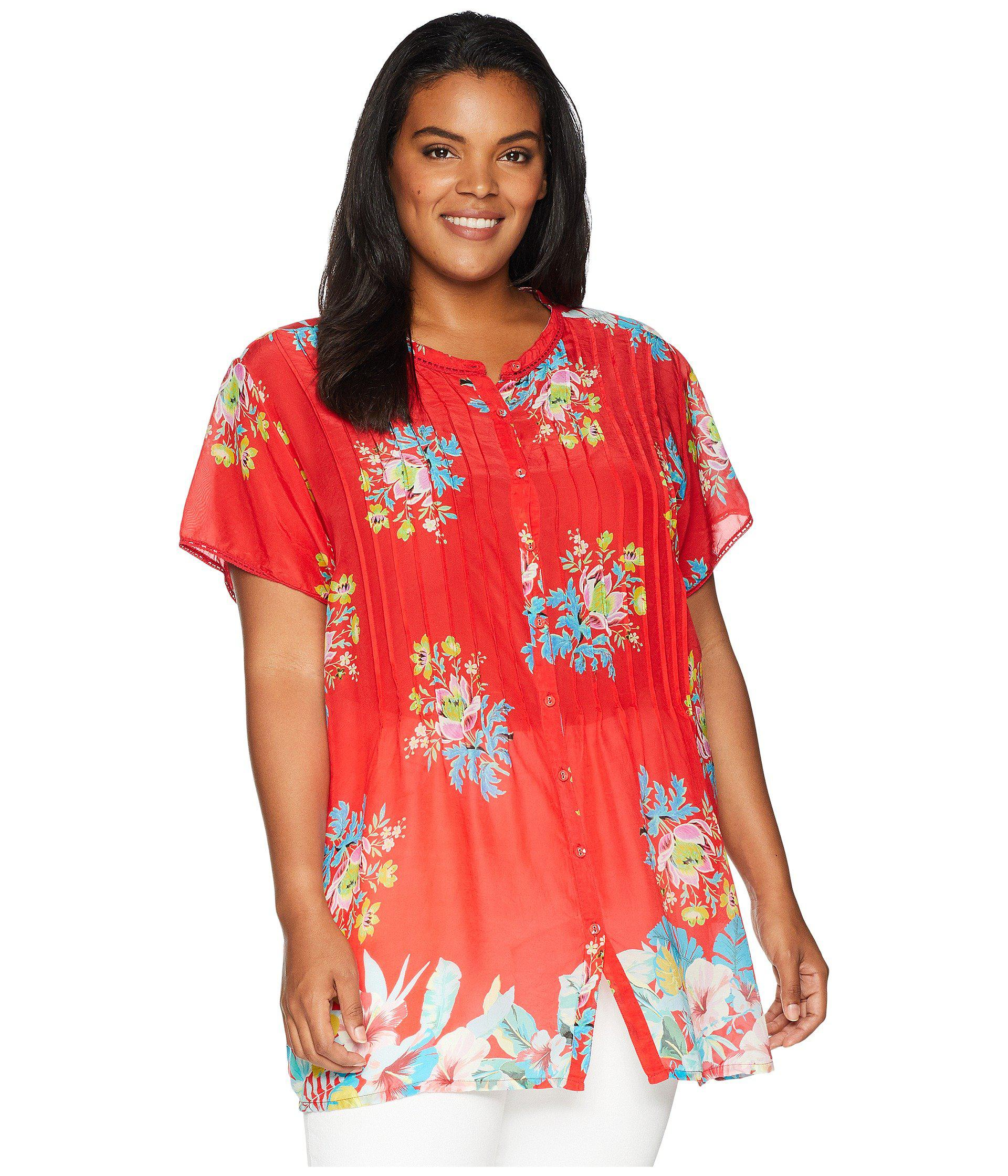 ca08638aa7d62 Johnny Was. Red Plus Size Flower Arch Button Down (multi A) Women s Blouse