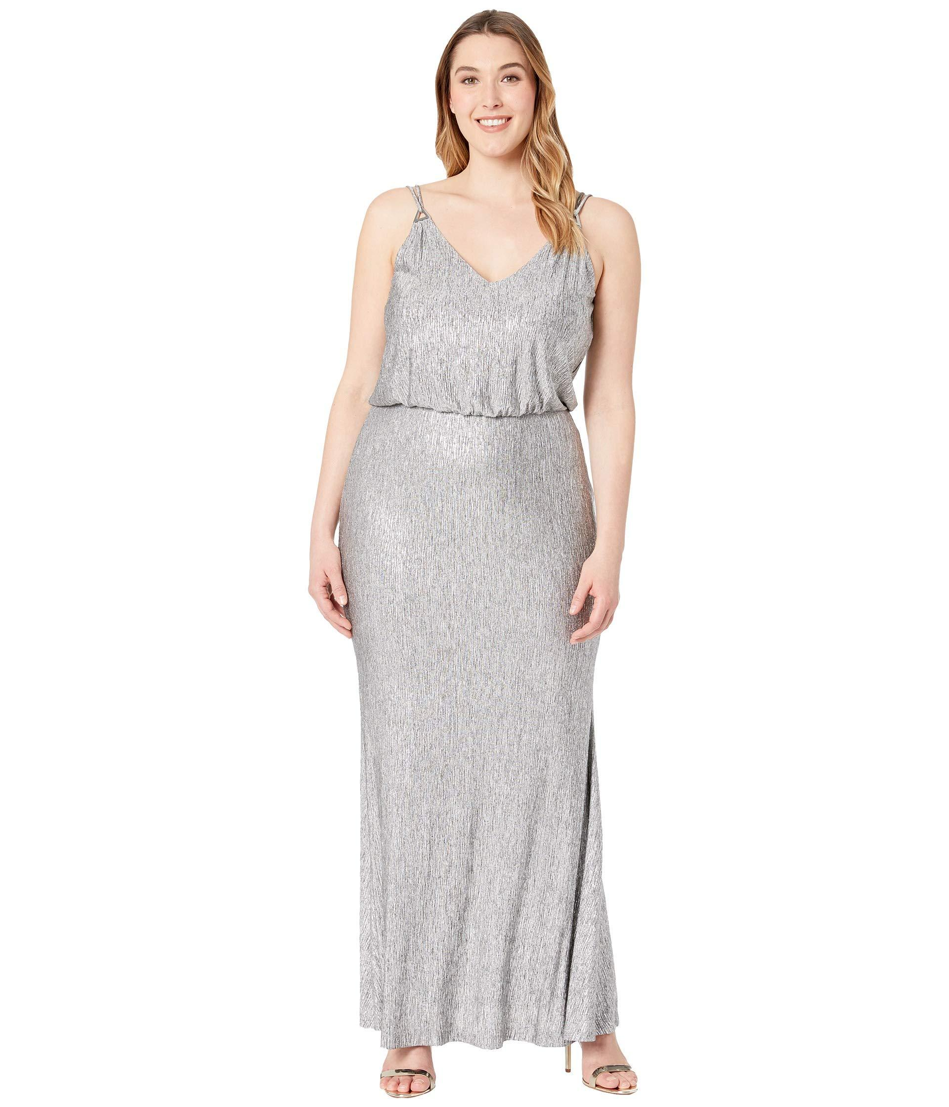 1cced40e0b1c6 Lyst - Calvin Klein Shimmer Blouson Gown Cd7b7p7e (grey Mutli ...