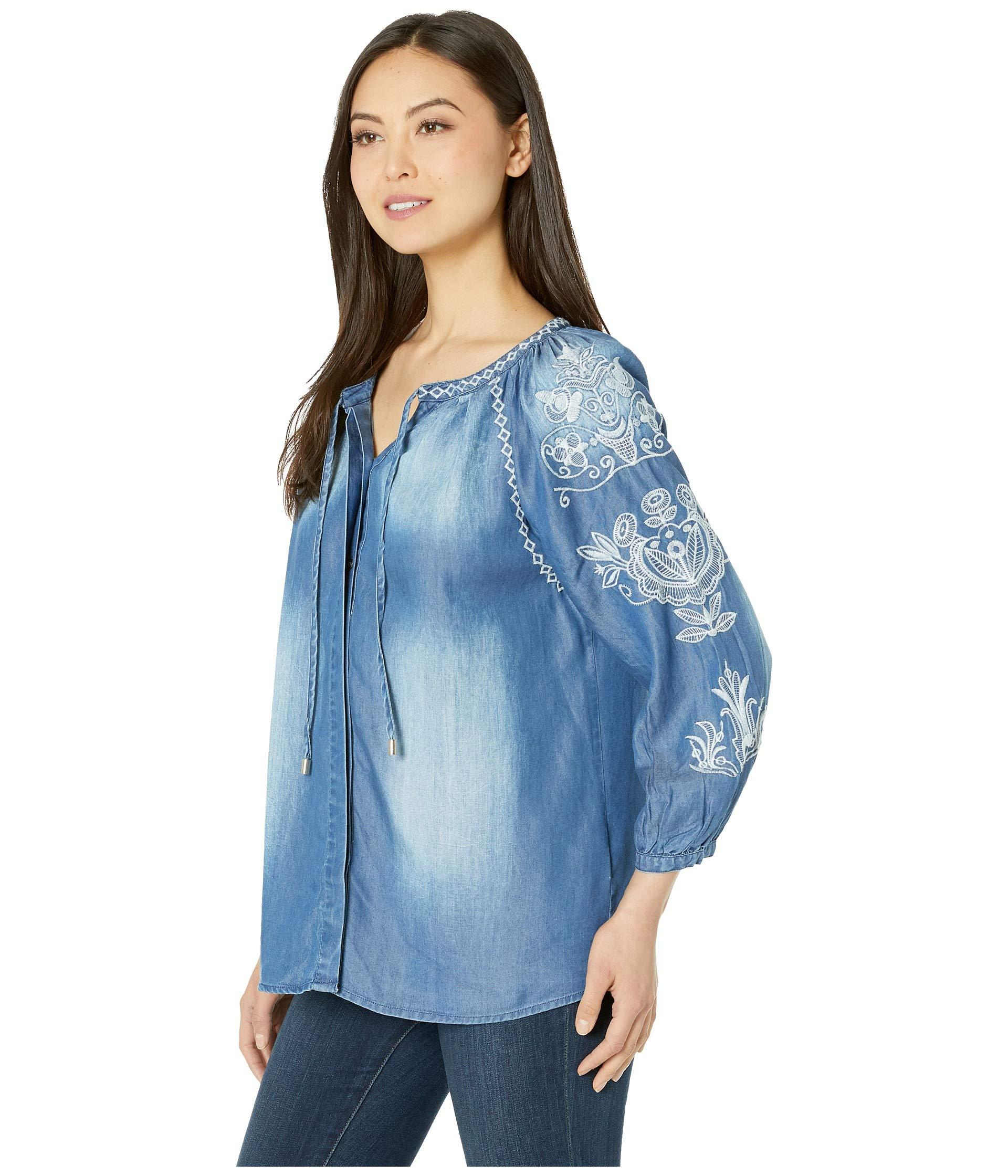 070a60ba Lyst - Wrangler Long Sleeve Drawstring Tie (chambray Blue) Women's Clothing  in Blue