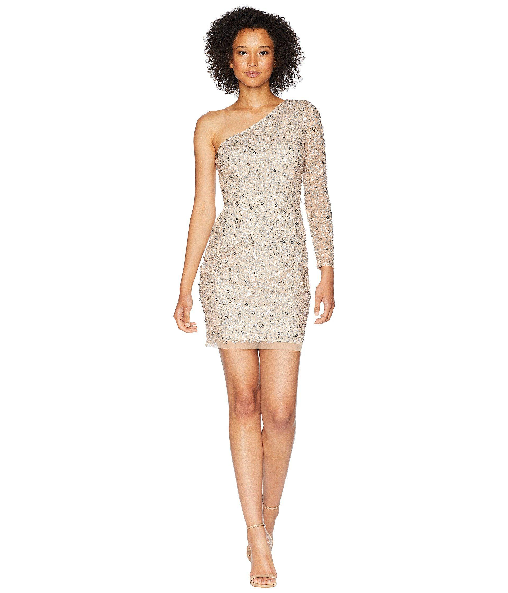 7dfd712f Lyst - Adrianna Papell One Shoulder Fully Beaded Cocktail Dress ...