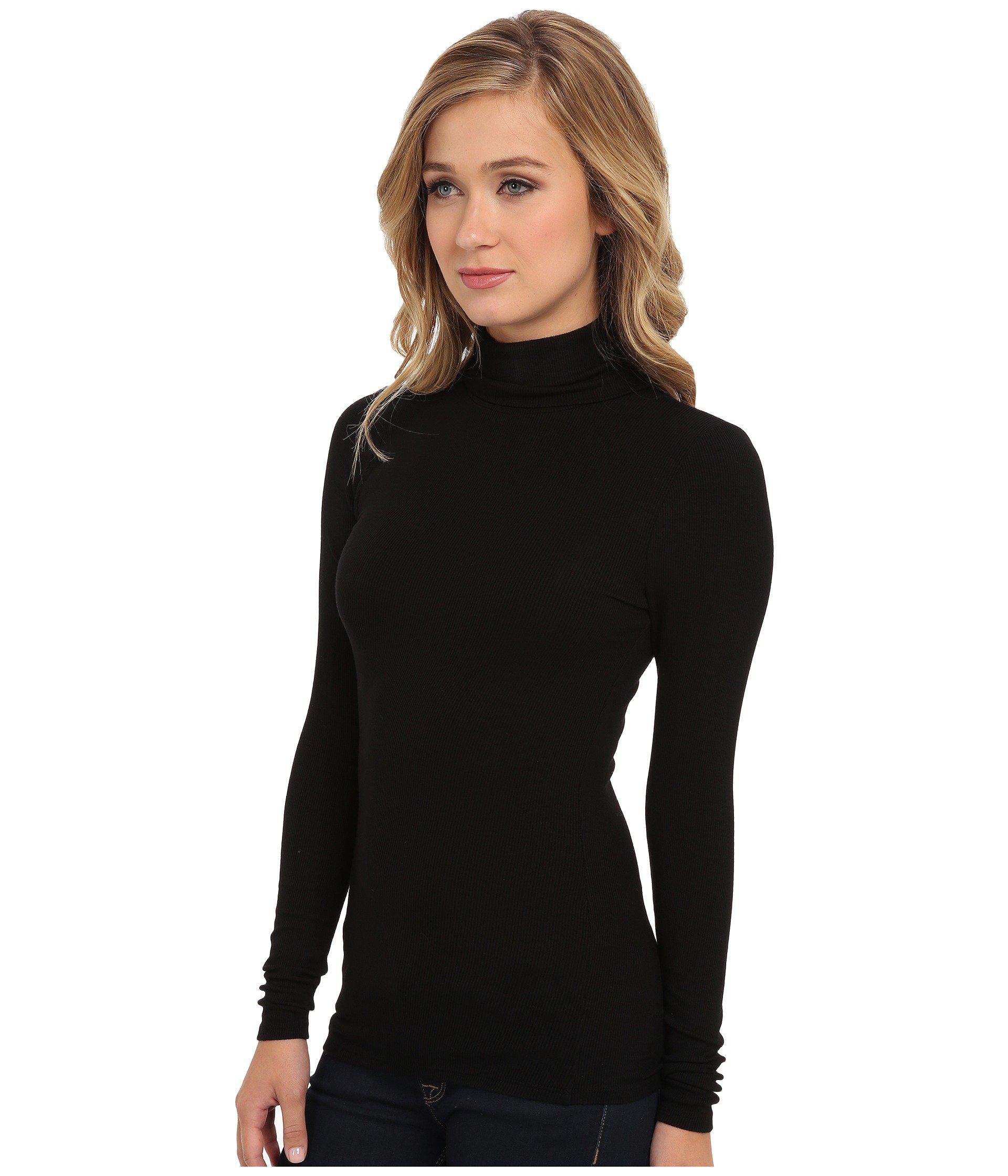 f3724243019ab Lyst - Three Dots 2x1 Viscose L s Turtleneck (black) Women s Long Sleeve  Pullover in Black