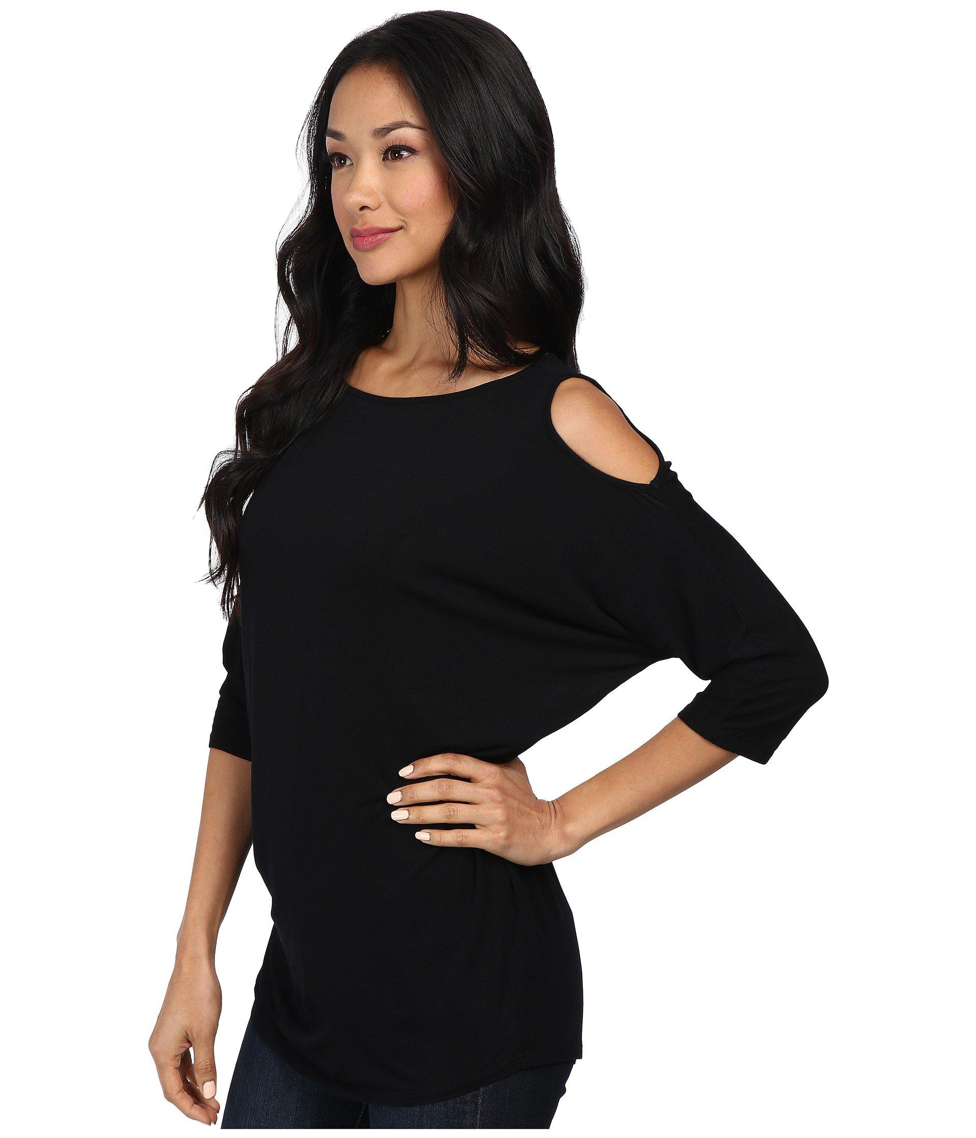 b49b5d4f14ec0 Lyst - Michael Stars Lycra Jersey 3 4 Sleeve Cold Shoulder Tunic (black)  Women s Long Sleeve Pullover in Black - Save 40%