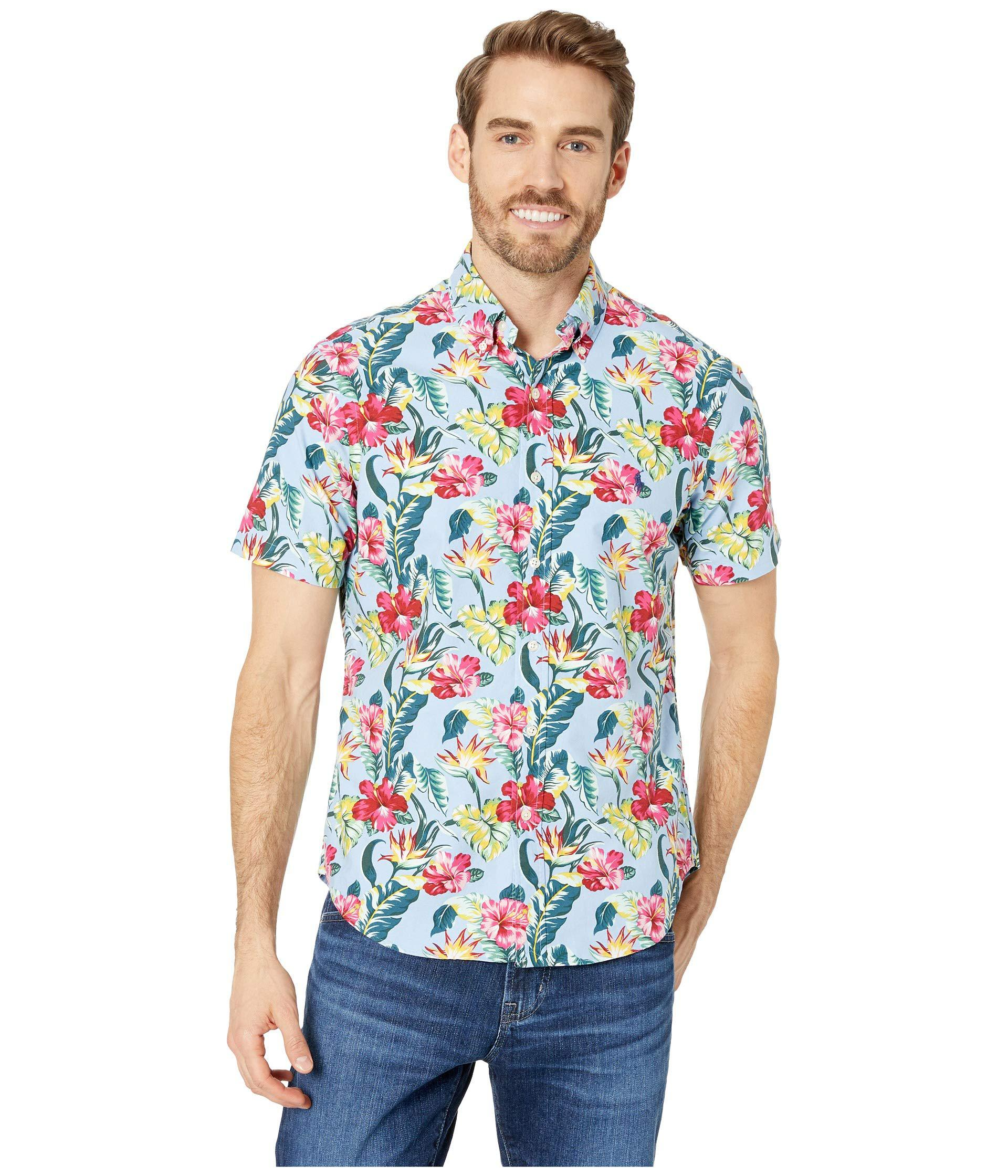 bf447990 Polo Ralph Lauren. Blue Short Sleeve Oxford Printed Classic Fit Sport Shirt  (paradise Floral) ...
