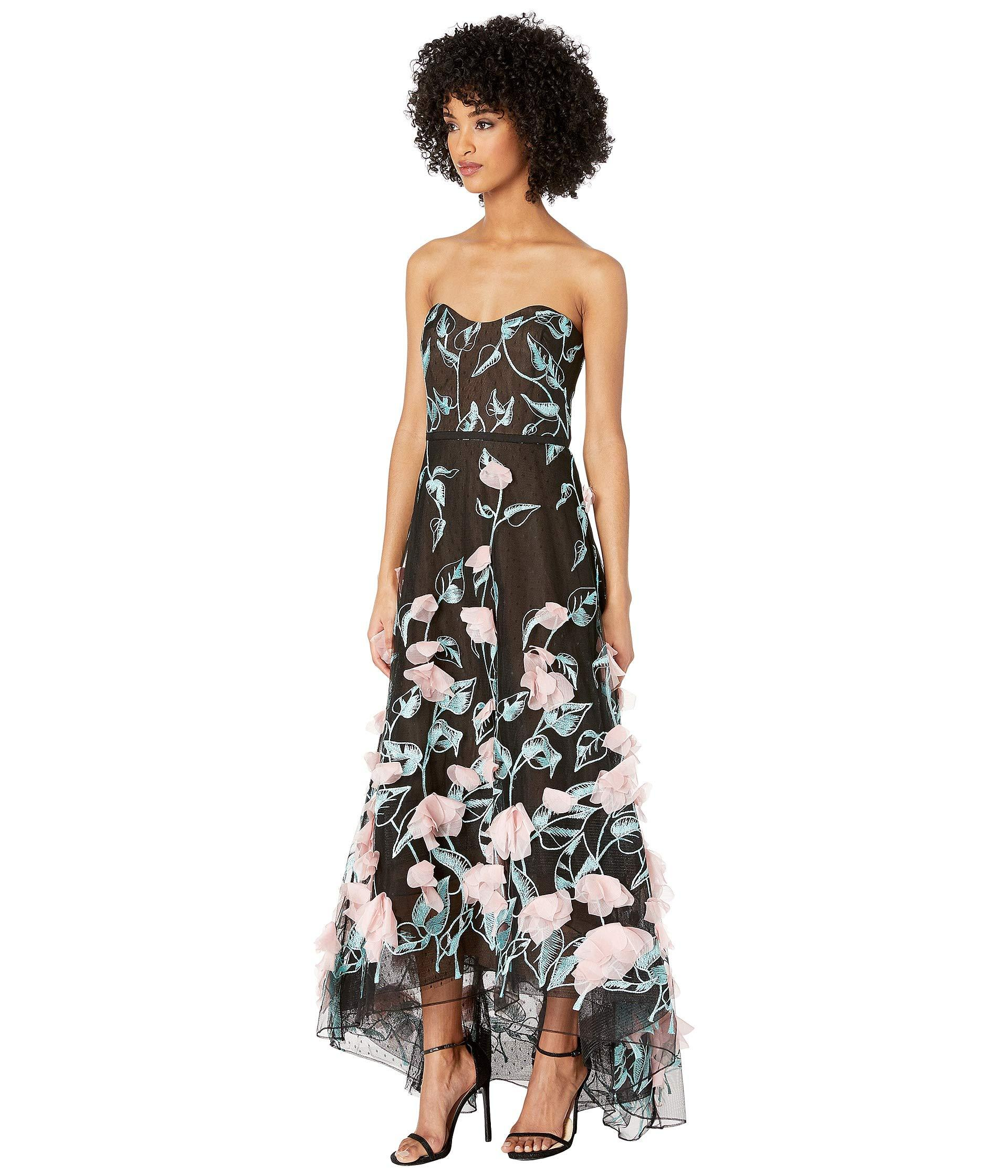 acaee2b3bd4 Marchesa notte Strapless High Low Embroidered Gown With 3d Flowers in Black  - Save 11% - Lyst
