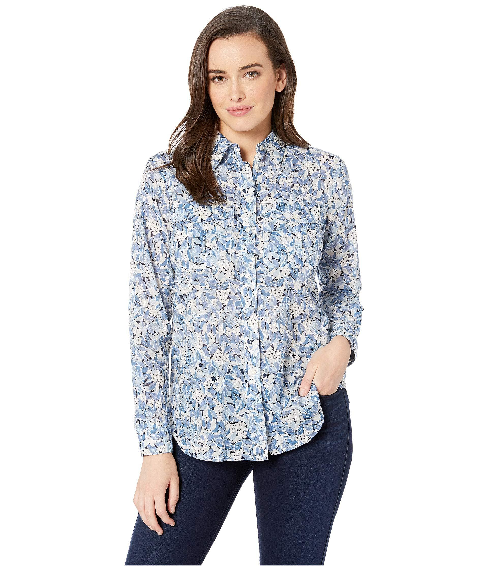 f8297a8ae0006 Lyst - Lauren by Ralph Lauren Plus Size Floral Cotton Voile Shirt ...