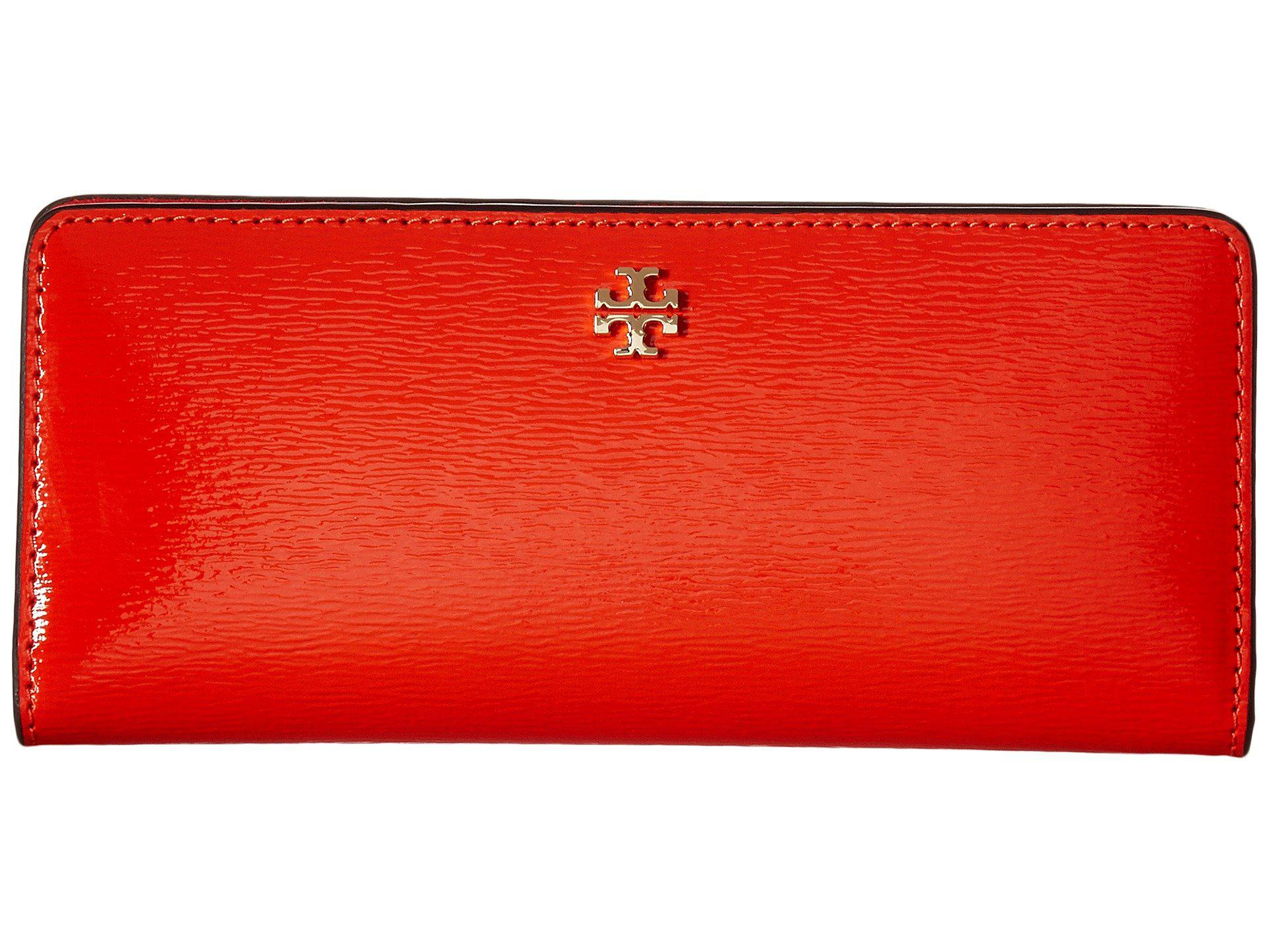 3781eb98fcf72 Lyst - Tory Burch Robinson Patent Slim Wallet in Red