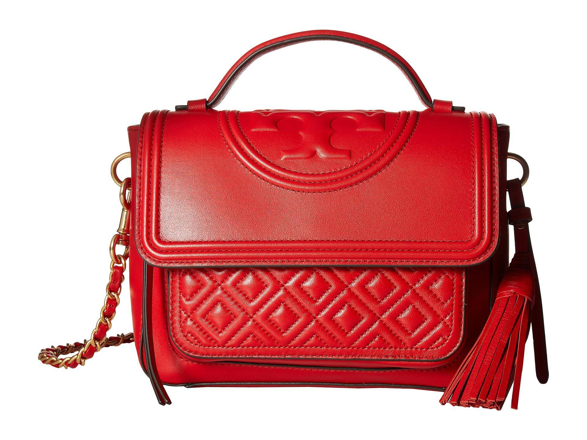 3fe4555055dc Lyst - Tory Burch Fleming Satchel (brilliant Red) Satchel Handbags ...
