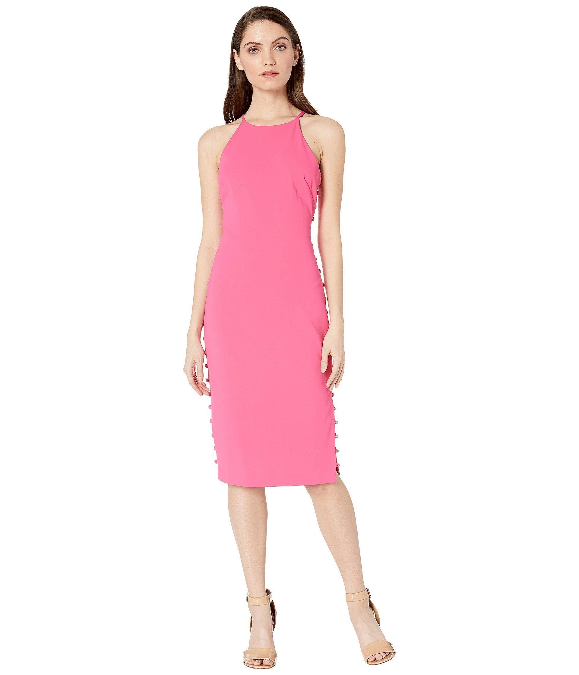 53a260ce2d Lyst - Badgley Mischka Side Button Halter (watermelon) Women s Dress ...
