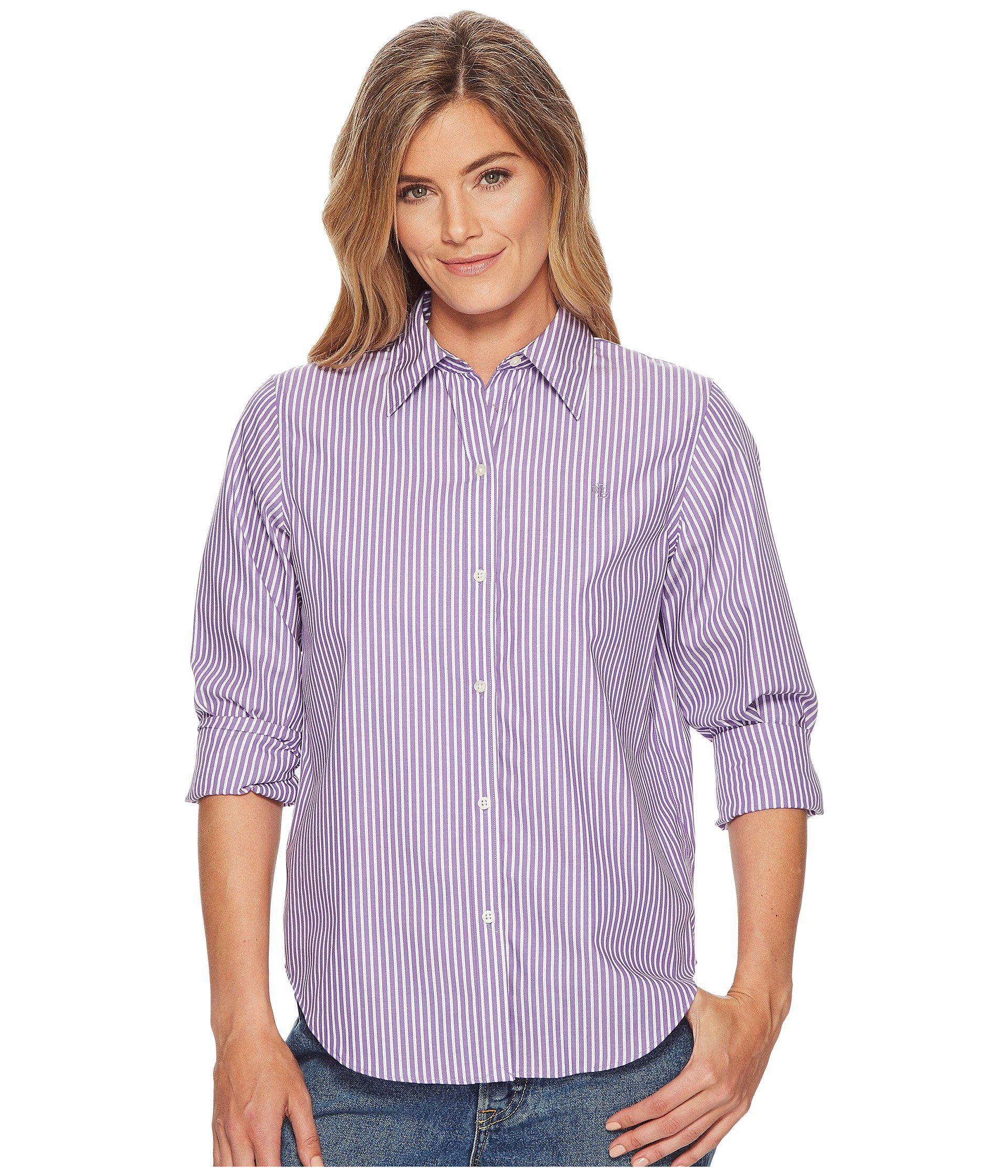4ec228c2eb6 Lauren by Ralph Lauren. Purple Cotton Button Down Shirt (lavendar white)  Women s ...