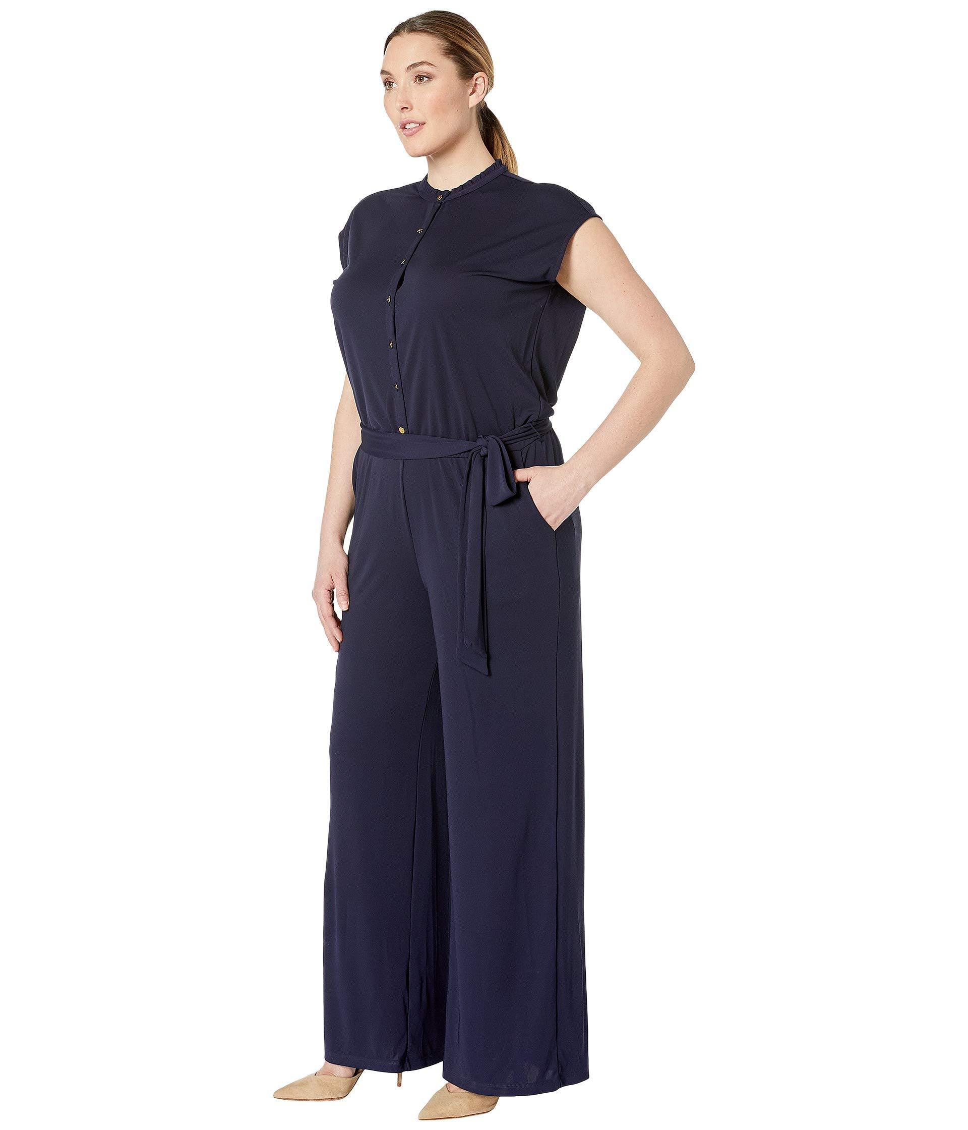 68091bb030a Lyst - Lauren by Ralph Lauren Plus Size Buttoned Jersey Jumpsuit (navy)  Women s Jumpsuit   Rompers One Piece in Blue