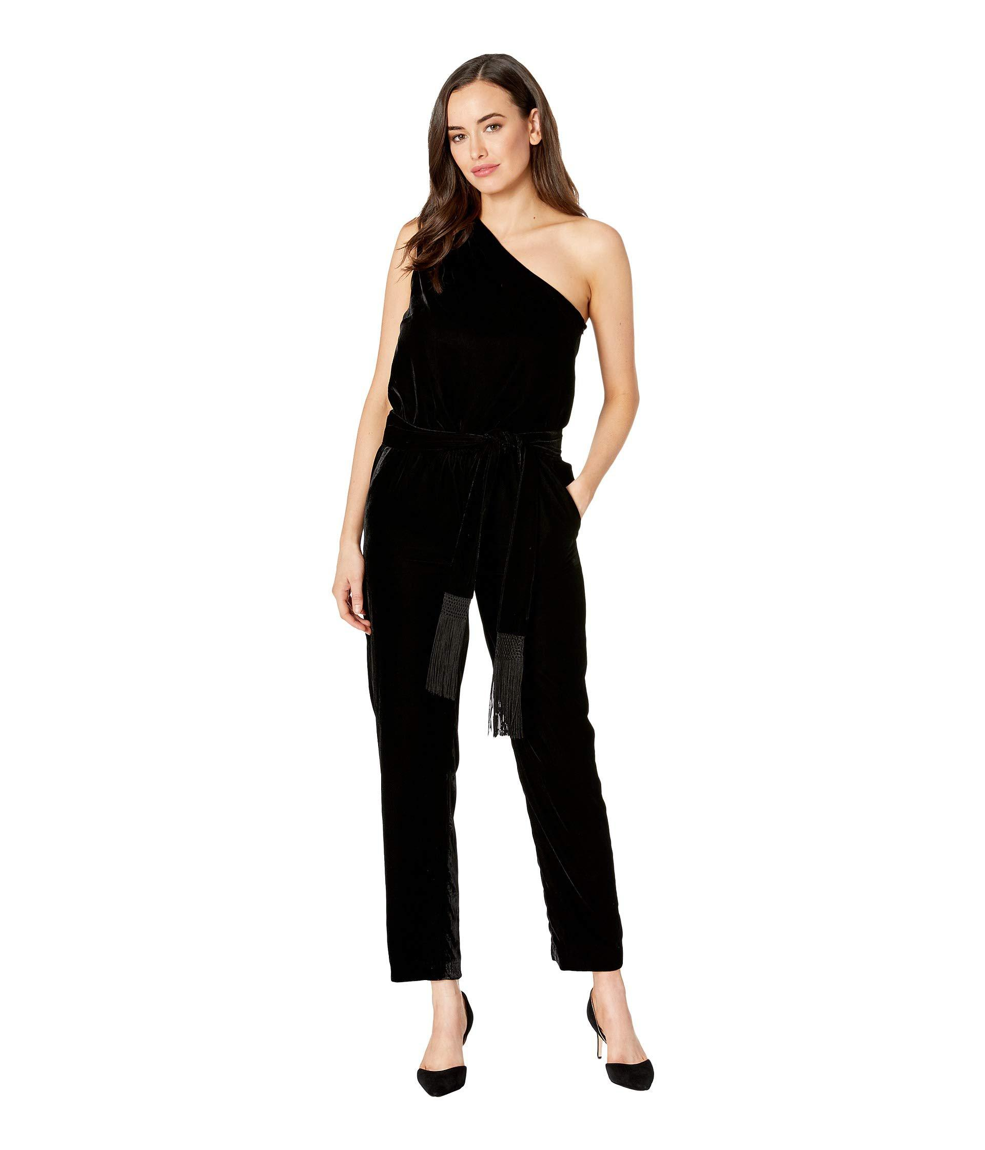 7fe3f2374f Lyst - Lauren by Ralph Lauren Velvet One-shoulder Jumpsuit (polo ...
