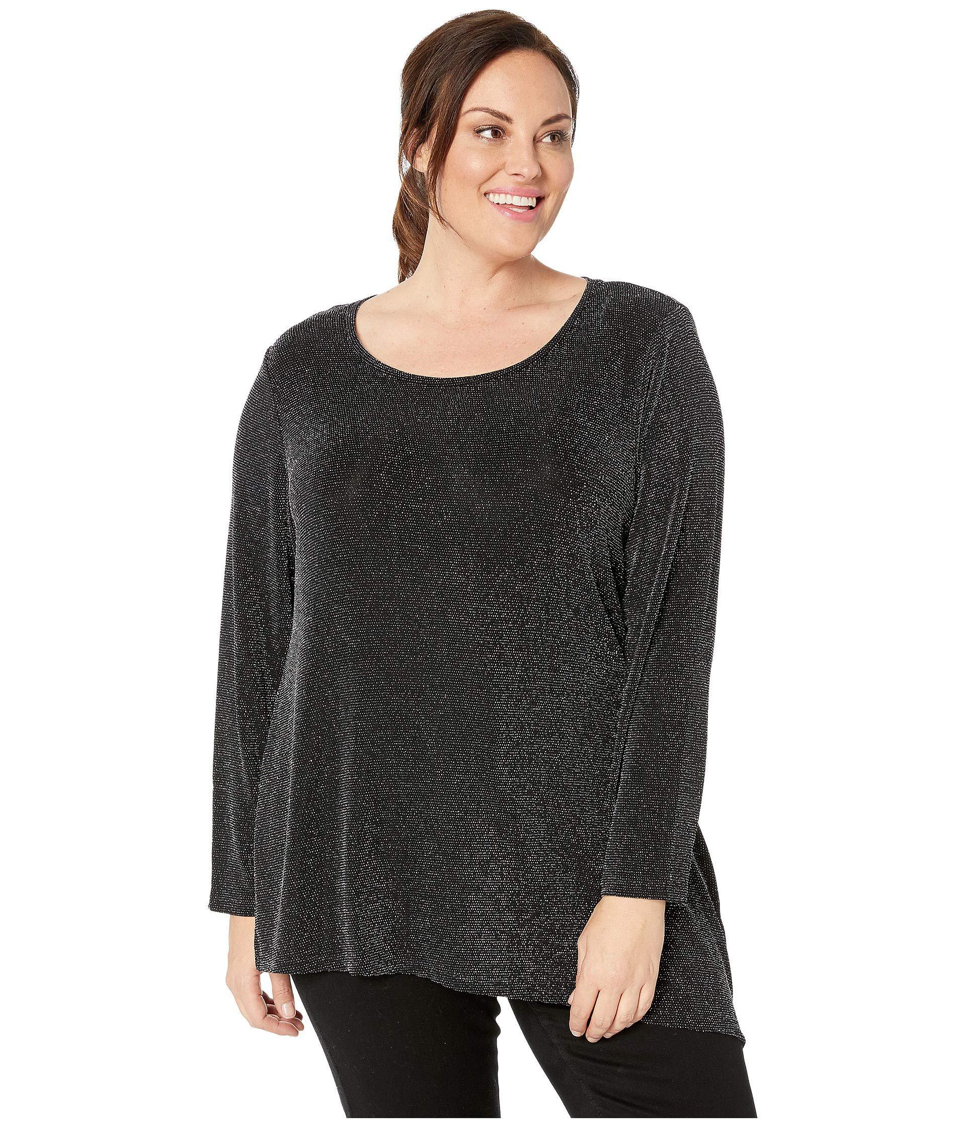 48badce9e6f05 Lyst - Calvin Klein Plus Size Long Sleeve Asymmetric Metallic Top ...