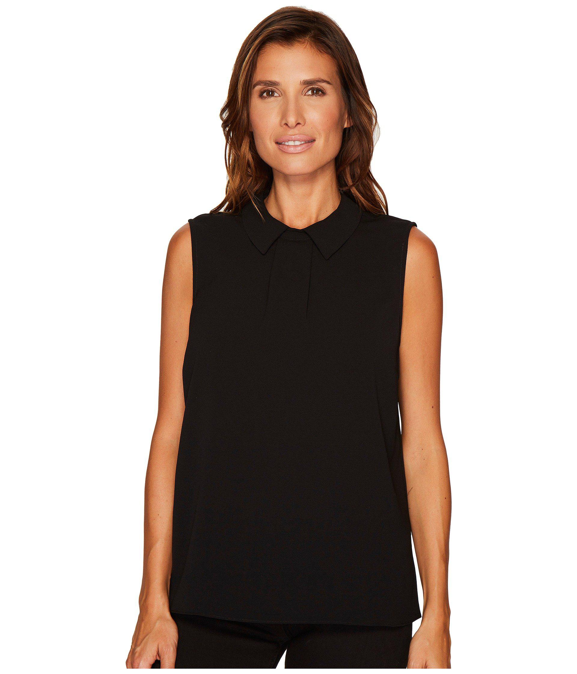 Lyst Cece Sleeveless Textured Pleat Front Collared Blouse Rich