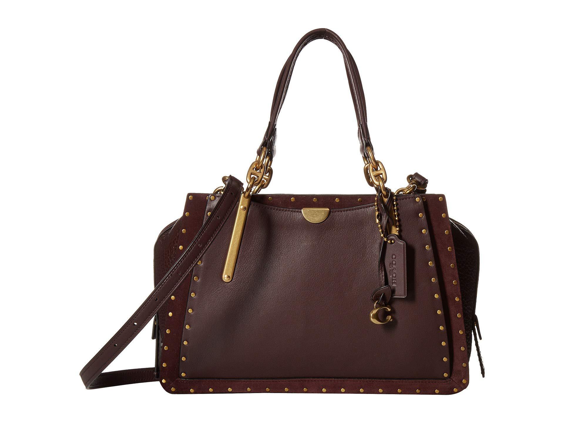 717f7d43dcd0 Lyst - COACH Dreamer In Rivets (b4 oxblood) Handbags