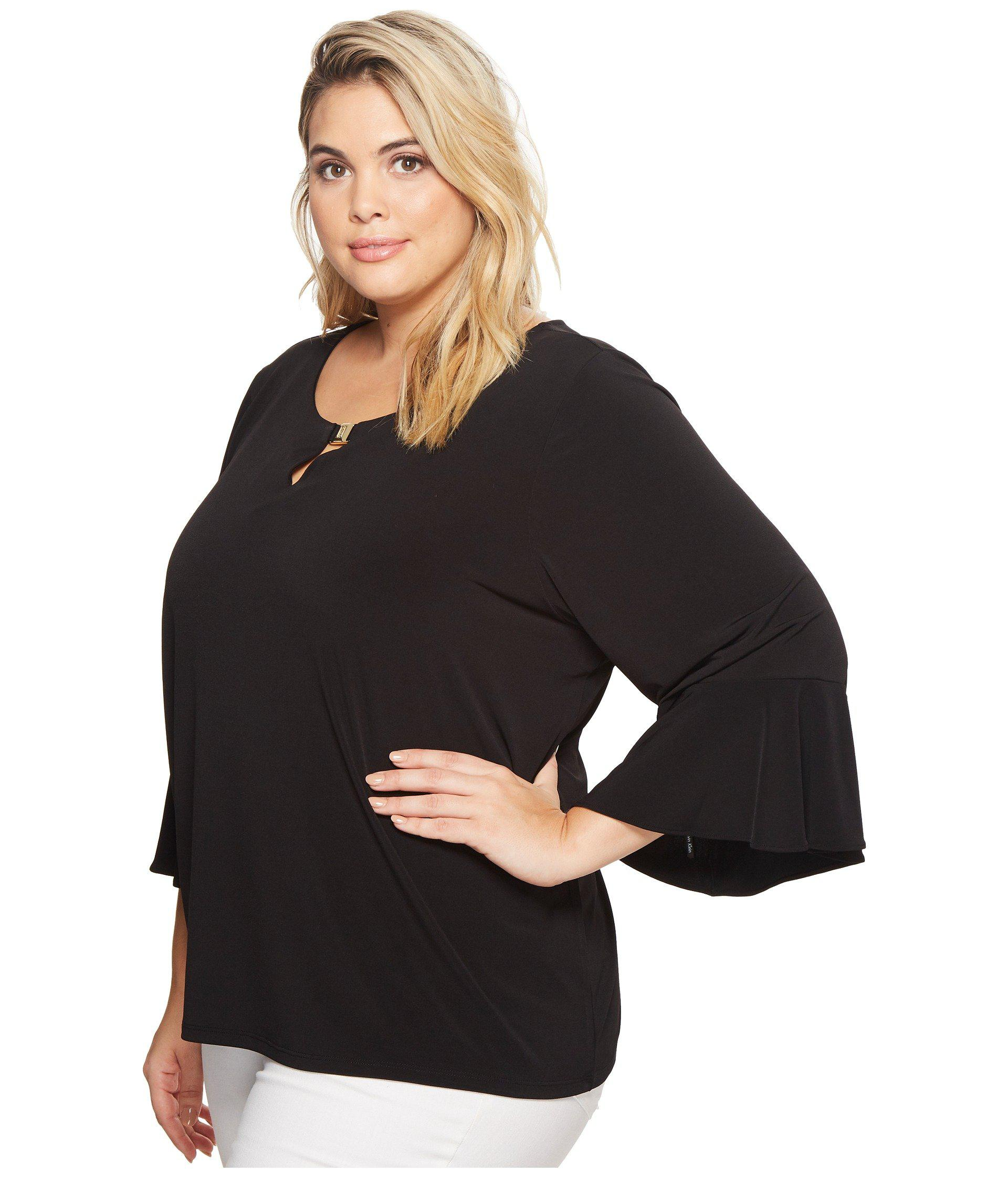 0feffb76848 Lyst - Calvin Klein Plus Size Ruffle Sleeve Top With Bar Hardware ...