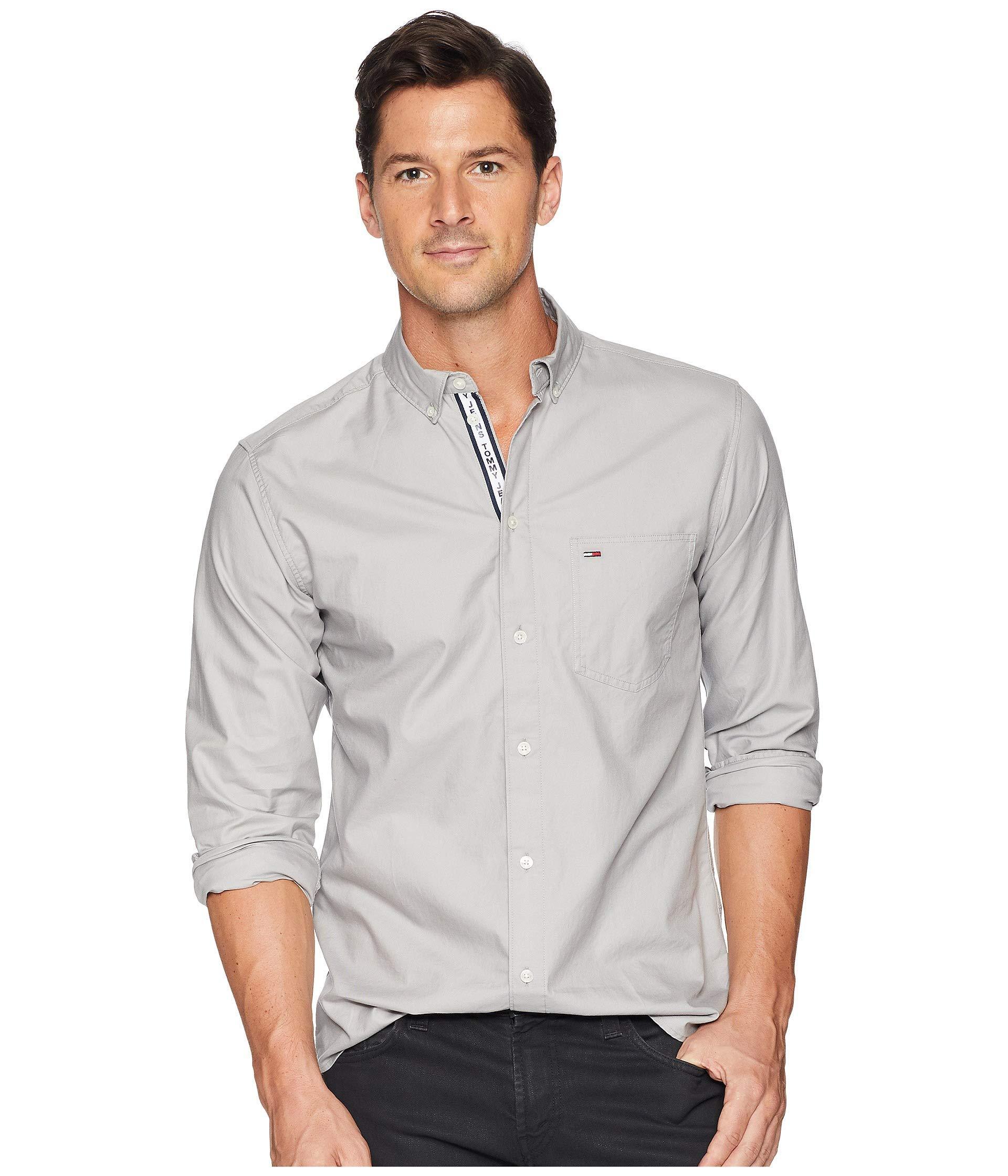 afeb4257 Tommy Hilfiger Tape Detail Shirt (drizzle) Men's Clothing in Gray ...