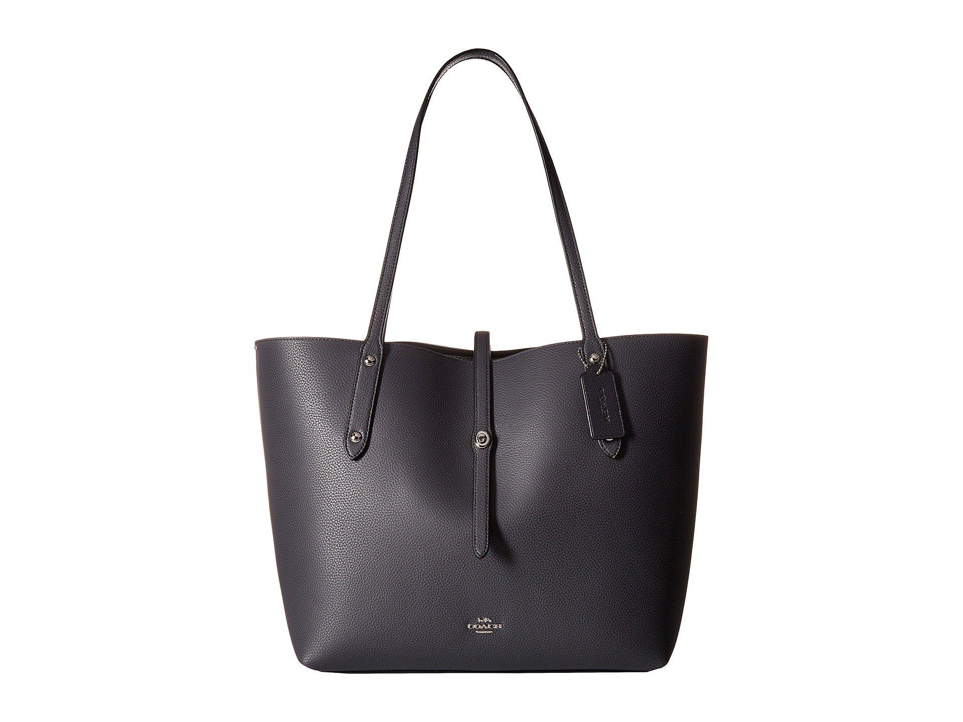 317e2b57aeae4 COACH. Women s Blue Polished Pebbled Leather Market Tote (li black true Red)  Handbags