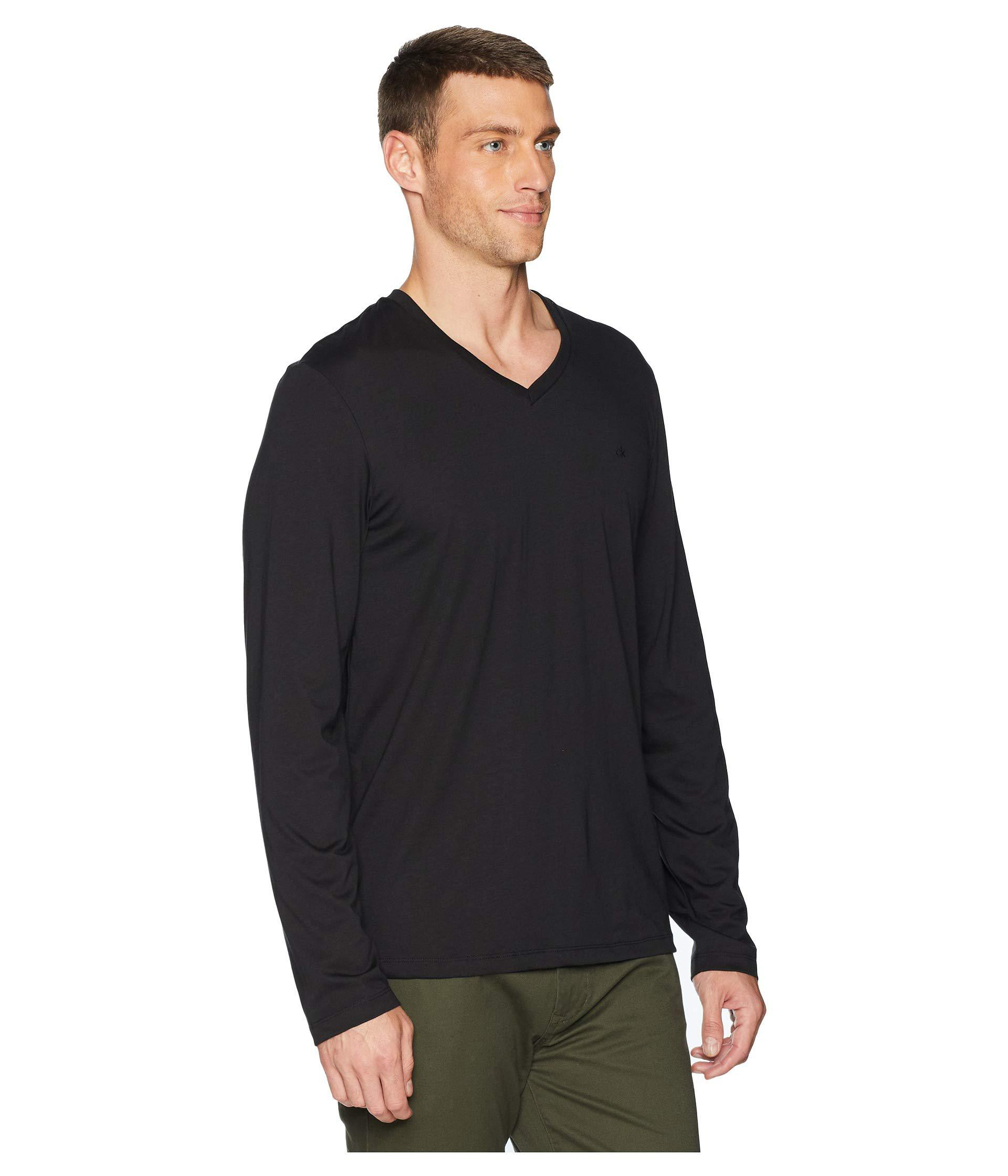 f93ed587f8d Calvin Klein - Long Sleeve Jersey V-neck T-shirt (black) Men s. View  fullscreen