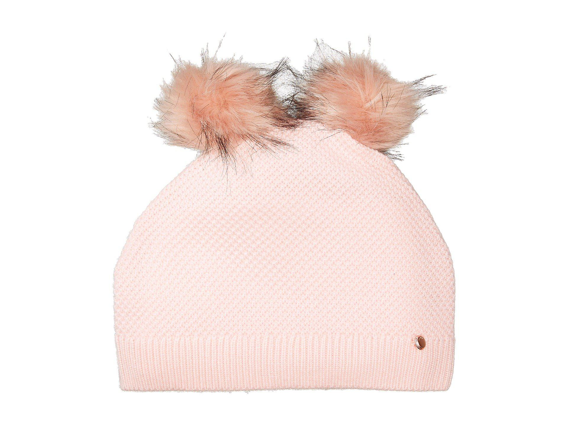 8f960ae43c2df Lyst - Ted Baker Double Pom Pom Hat in Pink