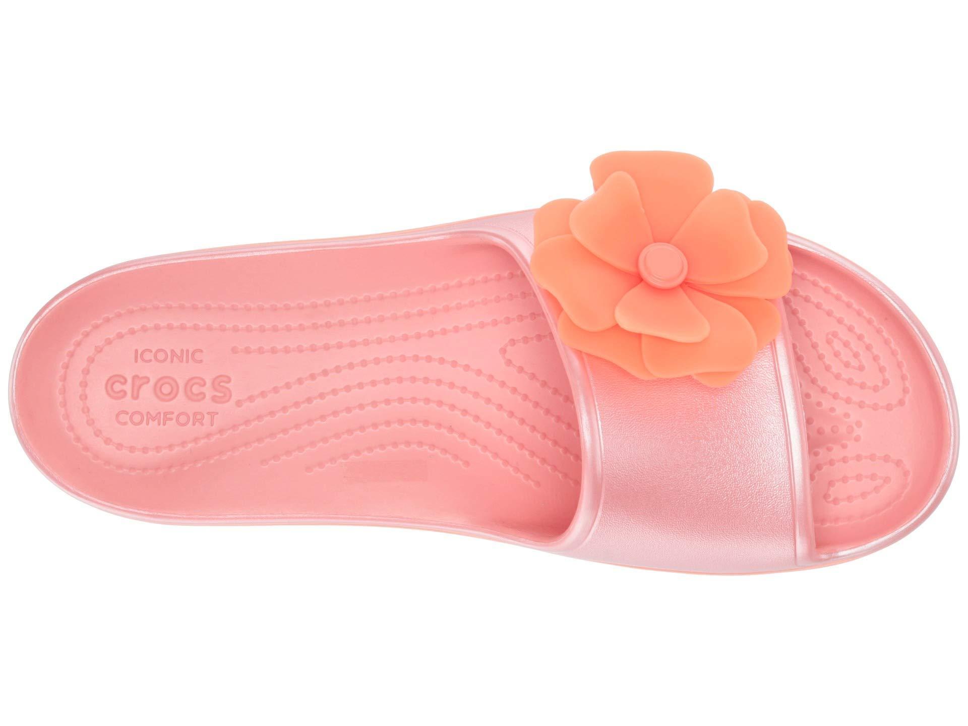 d240057eb Lyst - Crocs™ Crocband Platform Vivid Blooms Slide (melon) Slide ...