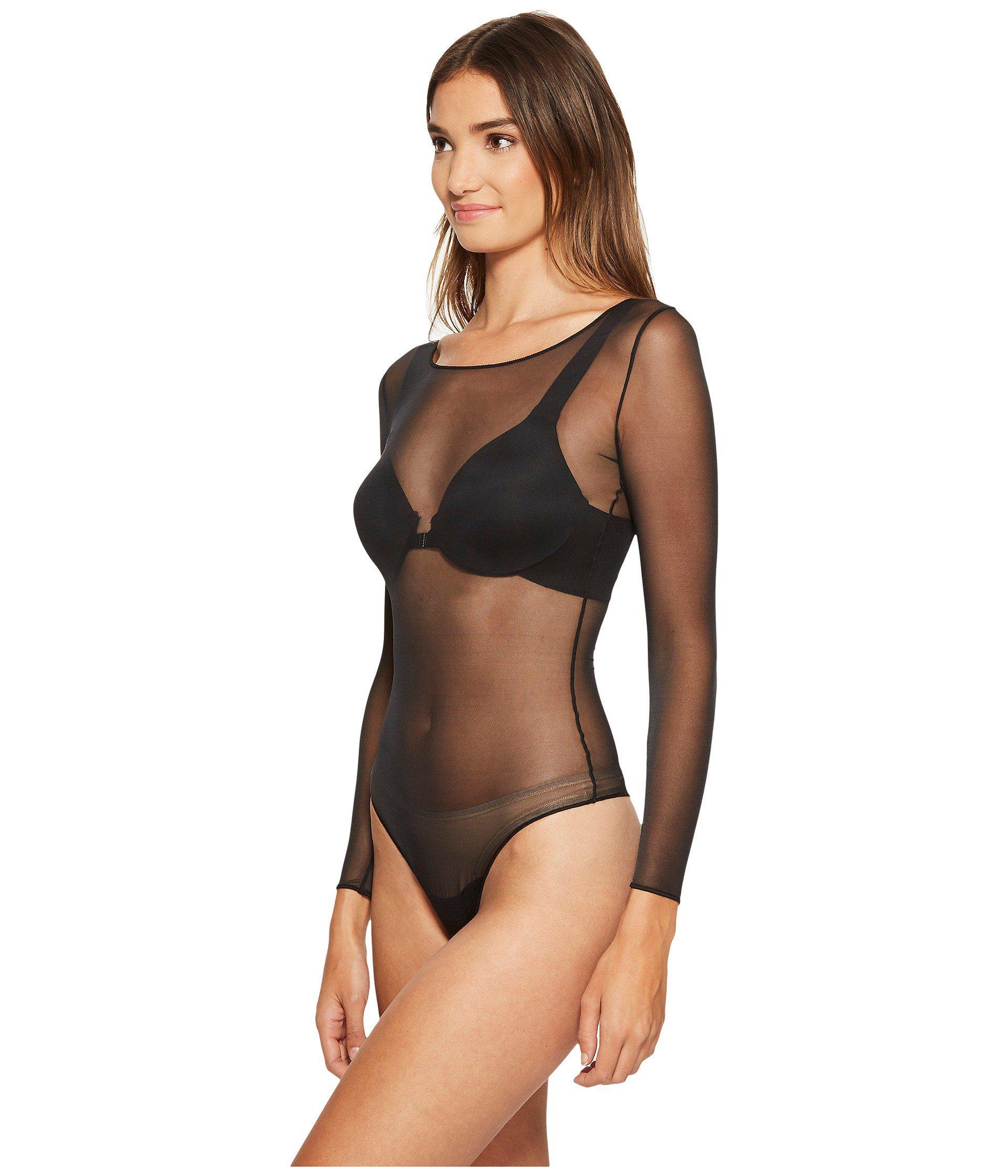 b3c13ed667 Lyst - Spanx Sheer Fashion Mesh Thong Bodysuit (flocked Dot) Women s  Jumpsuit   Rompers One Piece in Black