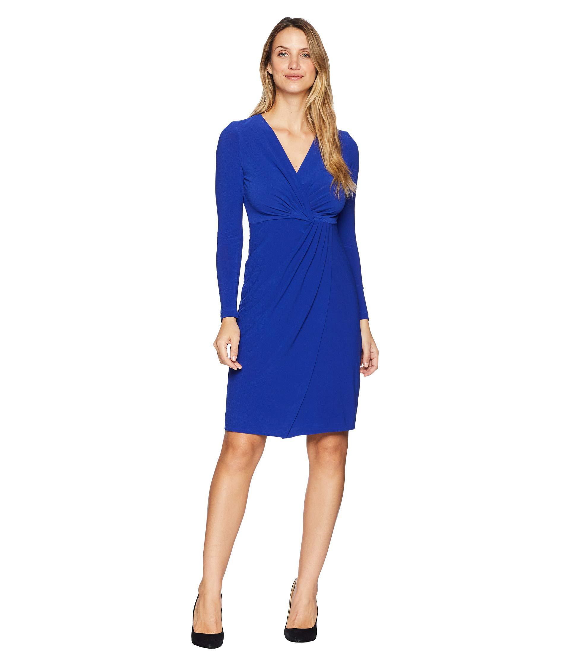 6c302b86 Lyst - Maggy London Crytal Crepe Wrap Dress (empire Blue) Women's ...