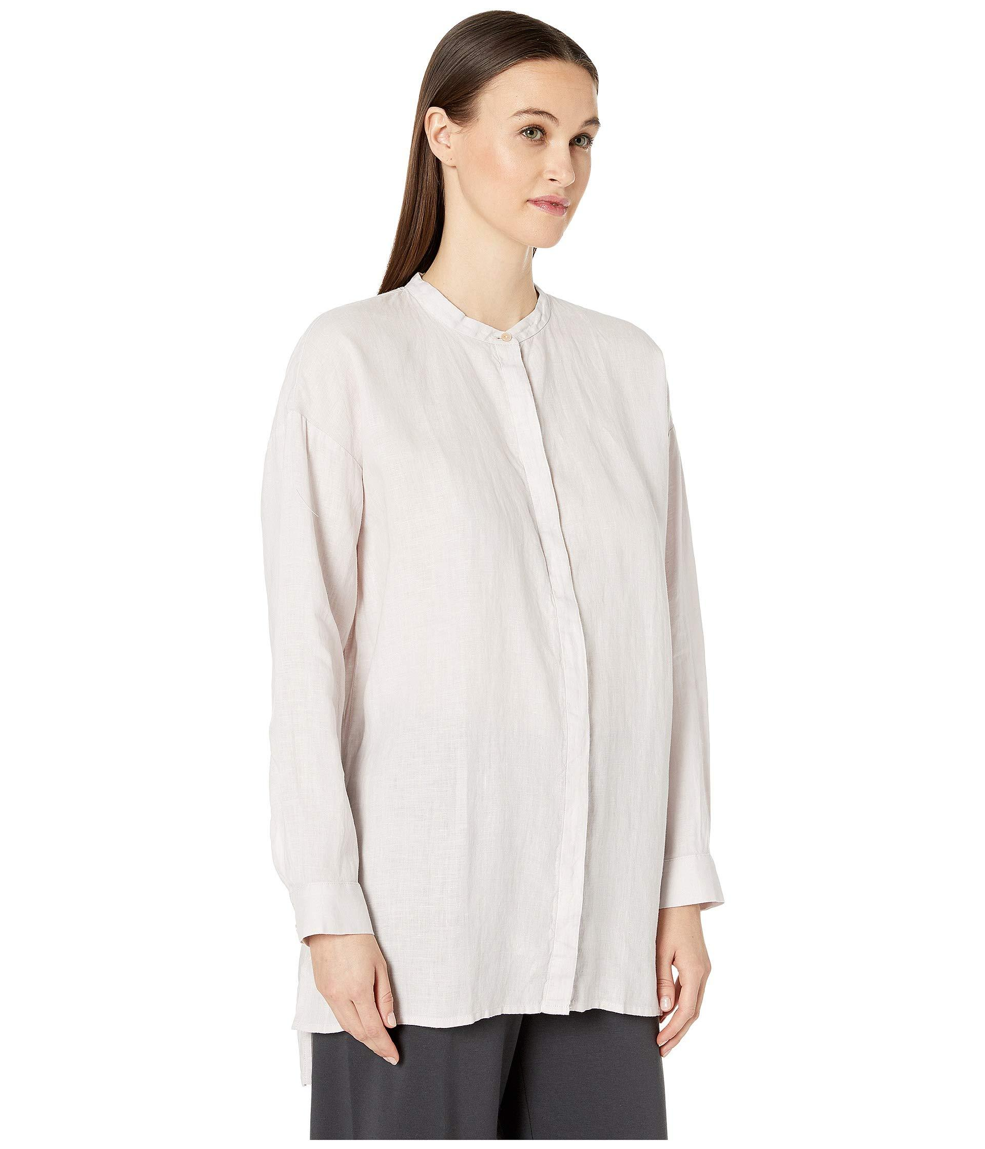328738e3 Eileen Fisher Organic Handkerchief Linen Mandarin Collar Boxy Shirt  (ceramic) Women's Clothing in White - Lyst