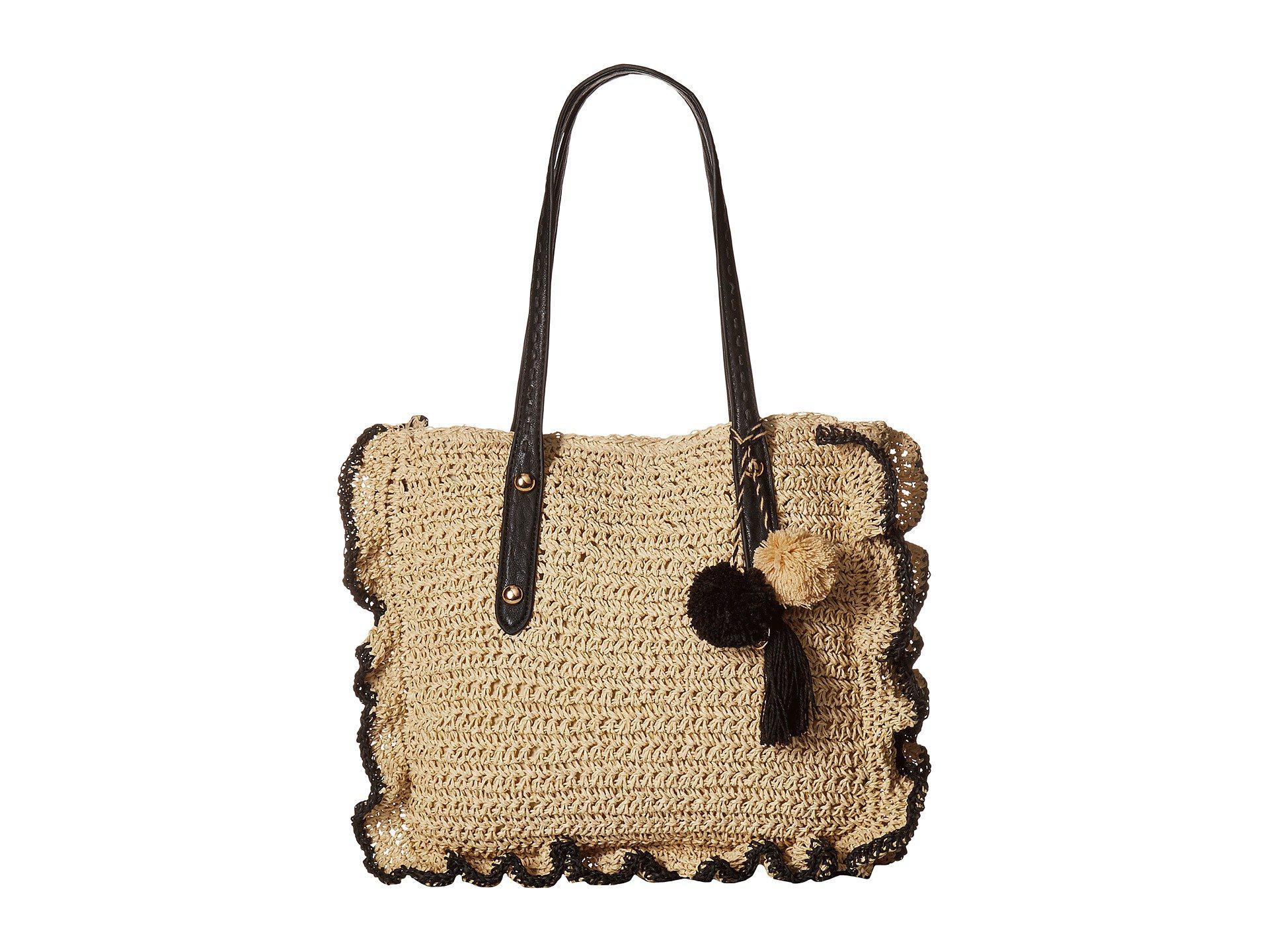 Jessica Simpson Kalie Straw (Natural/Black) Handbags WDw5aV