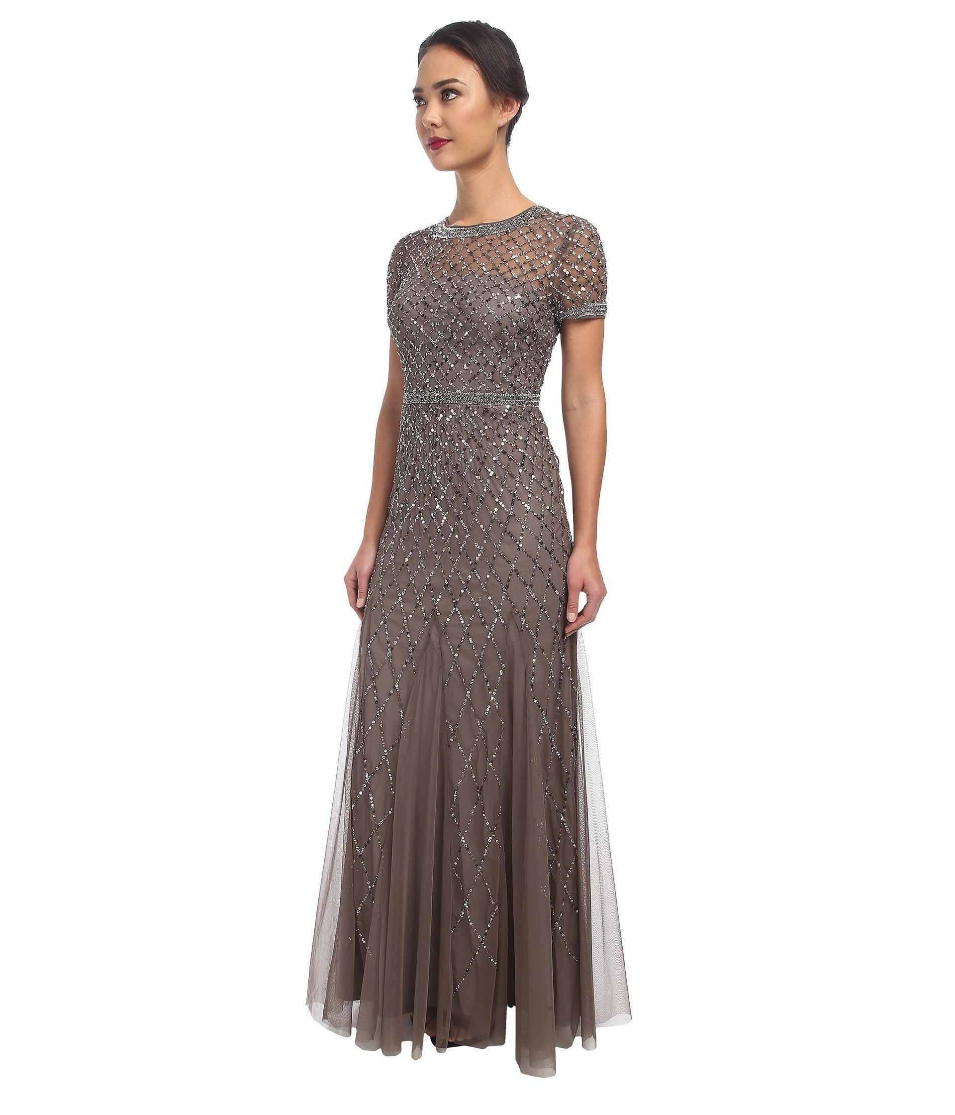Lyst - Adrianna Papell Cap Sleeve Fully Beaded Gown (lead) Women's Dress in Gray